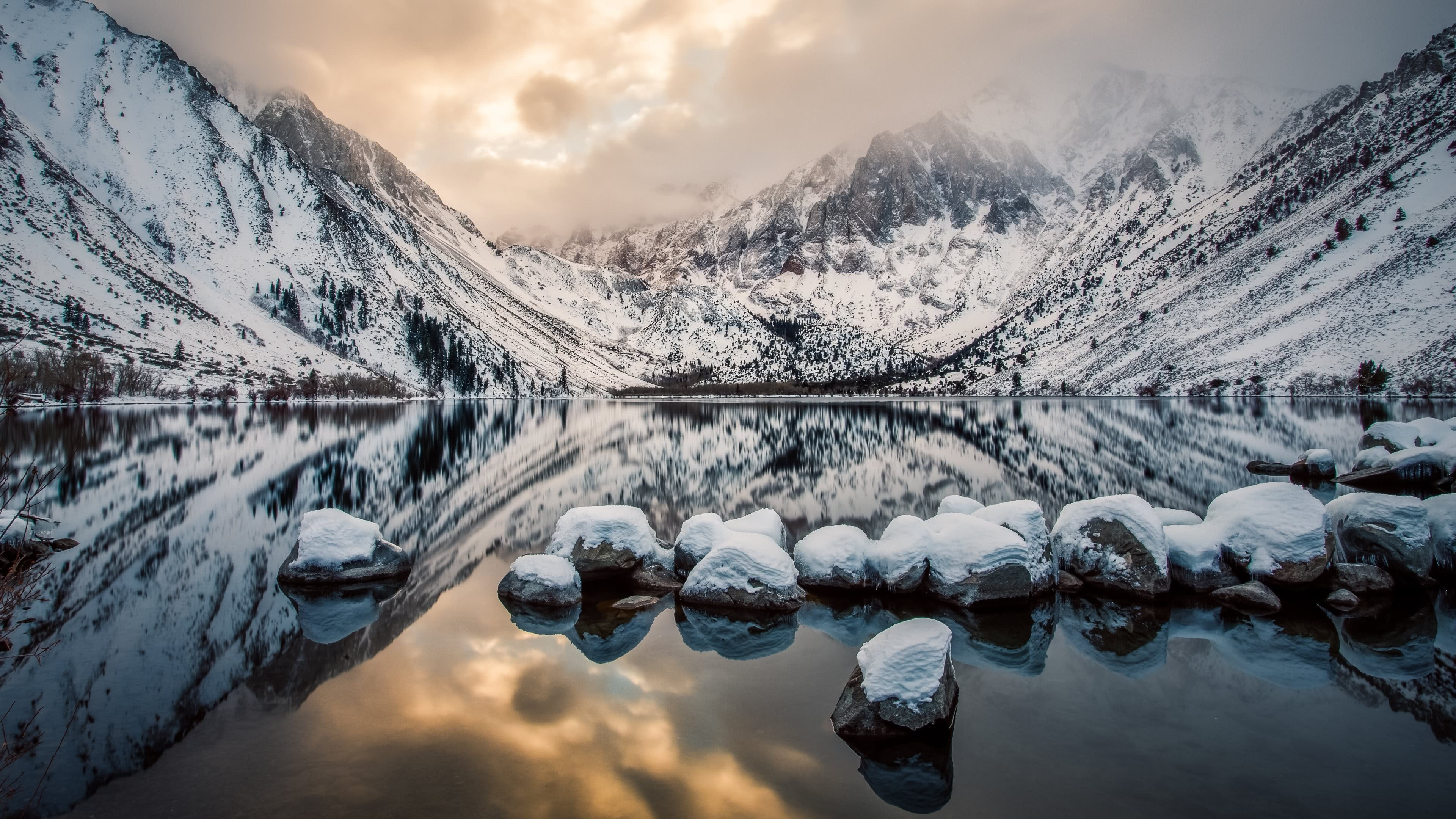 convict lake sherwin range sierra nevada california united states 4k wallpaper