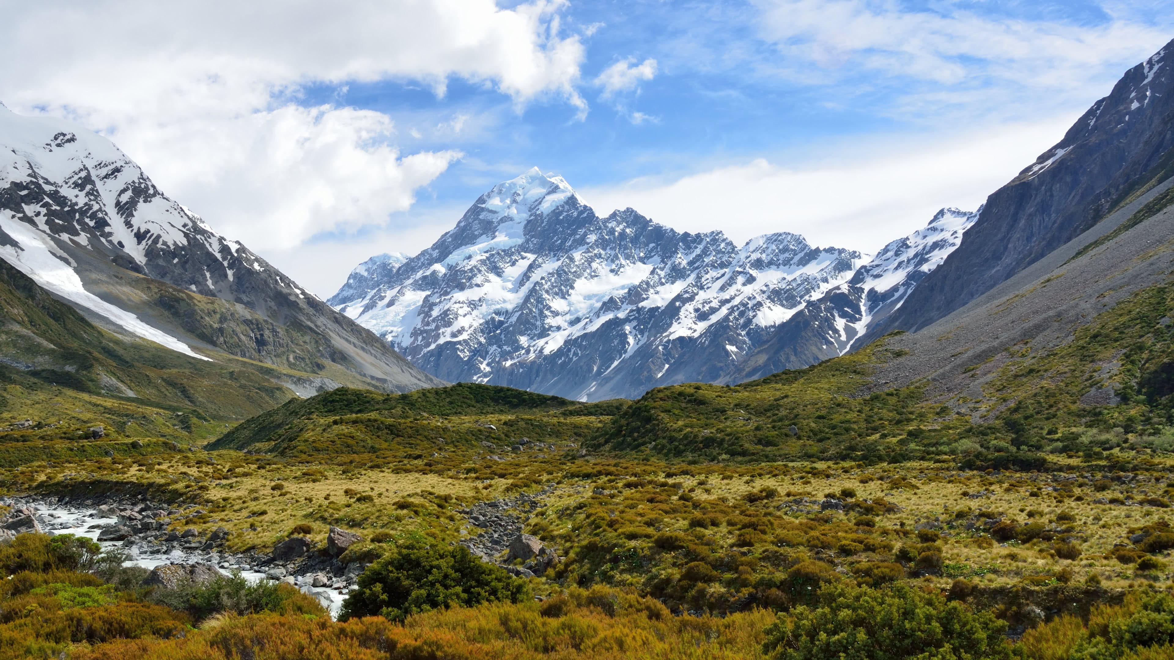 hooker glacier aoraki mount cook mackenzie region new zealand 4k wallpaper