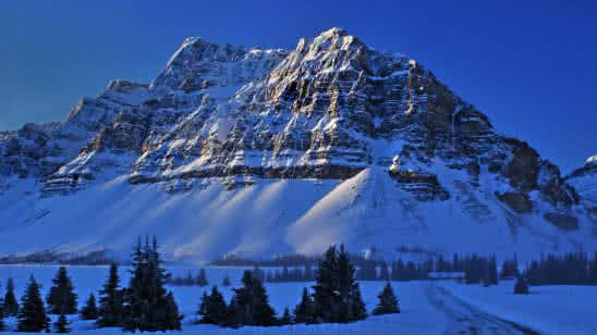 snowy mountains bow lake banff national park alberta canada 4k wallpaper