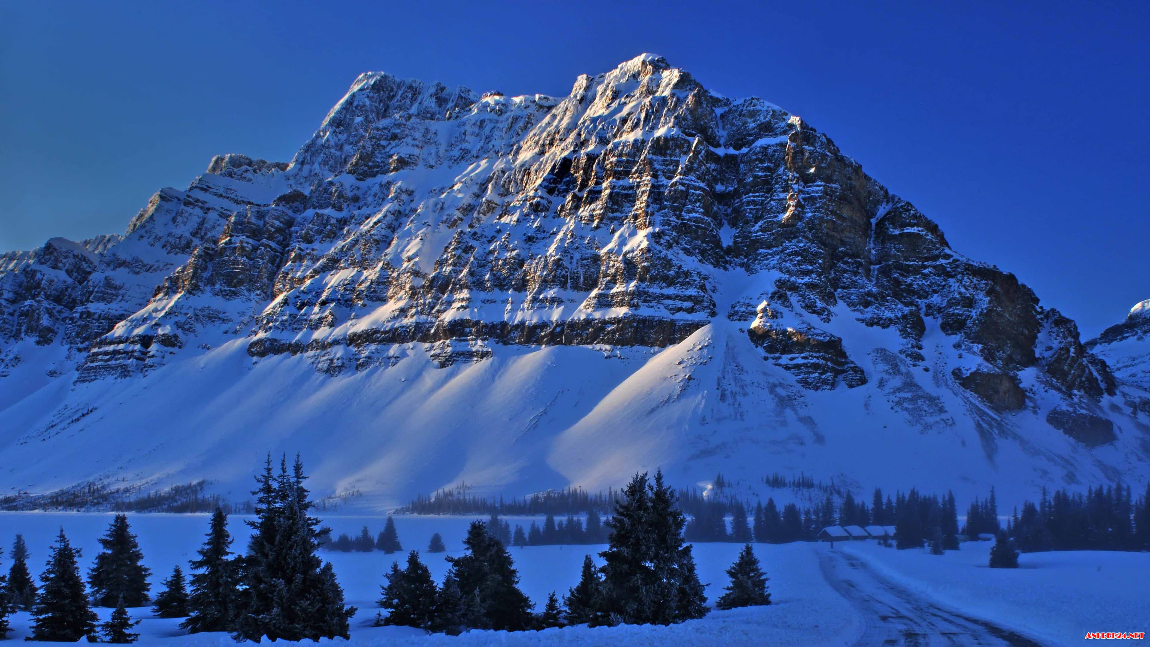 snowy mountains bow lake banff national park alberta canada 4k wallpaper