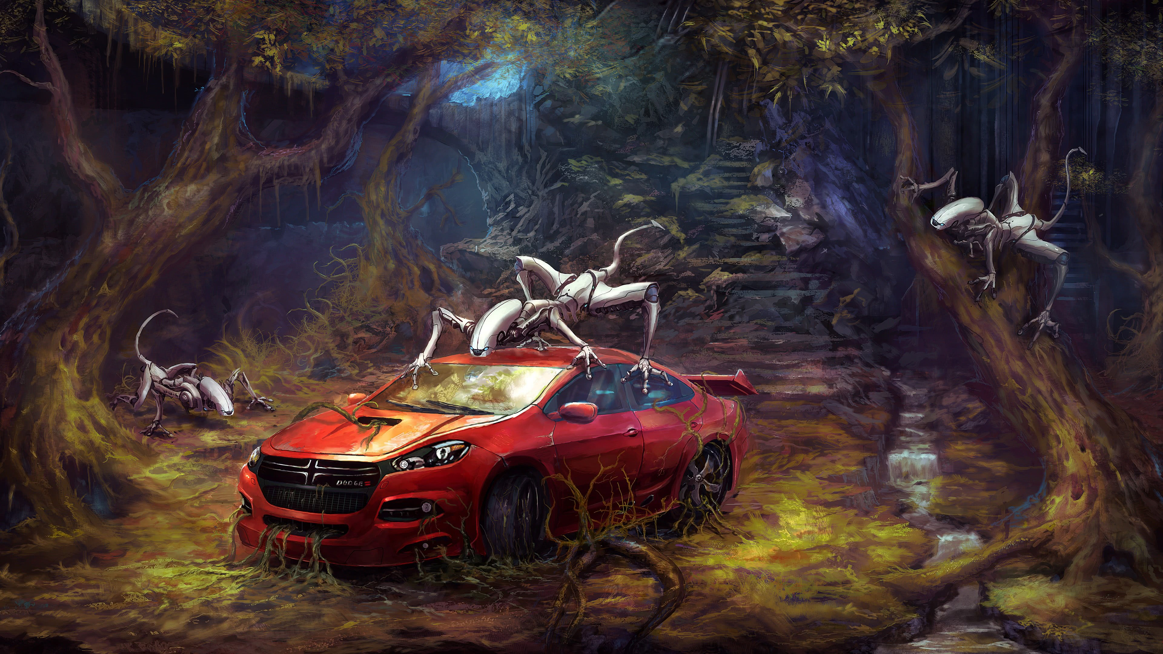 toyota ft1 in forest with robots 4k wallpaper