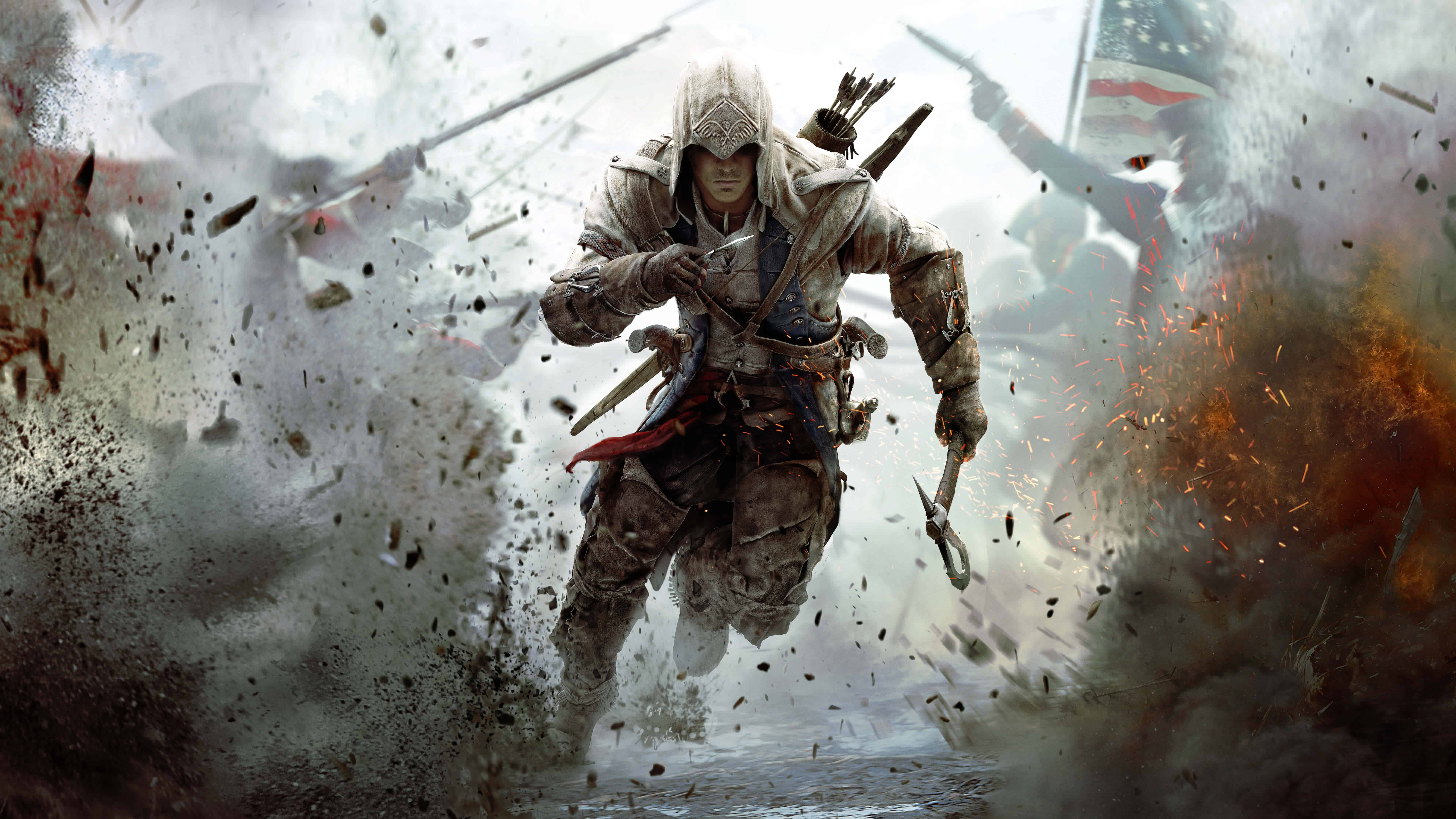 assassins creed connor running 8k wallpaper
