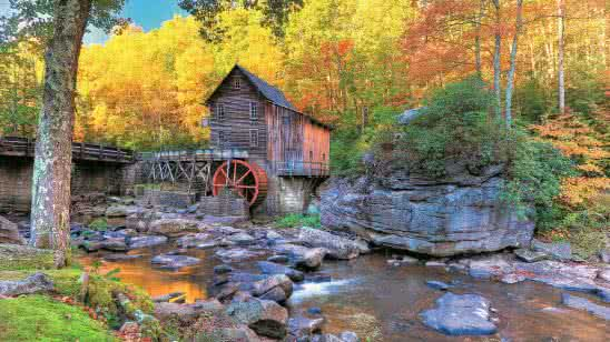 autumn in glade creek grist mill babcock state park west virginia united states 8k wallpaper