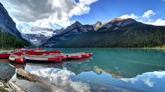 canoes lake louise banff canada uhd 4k wallpaper