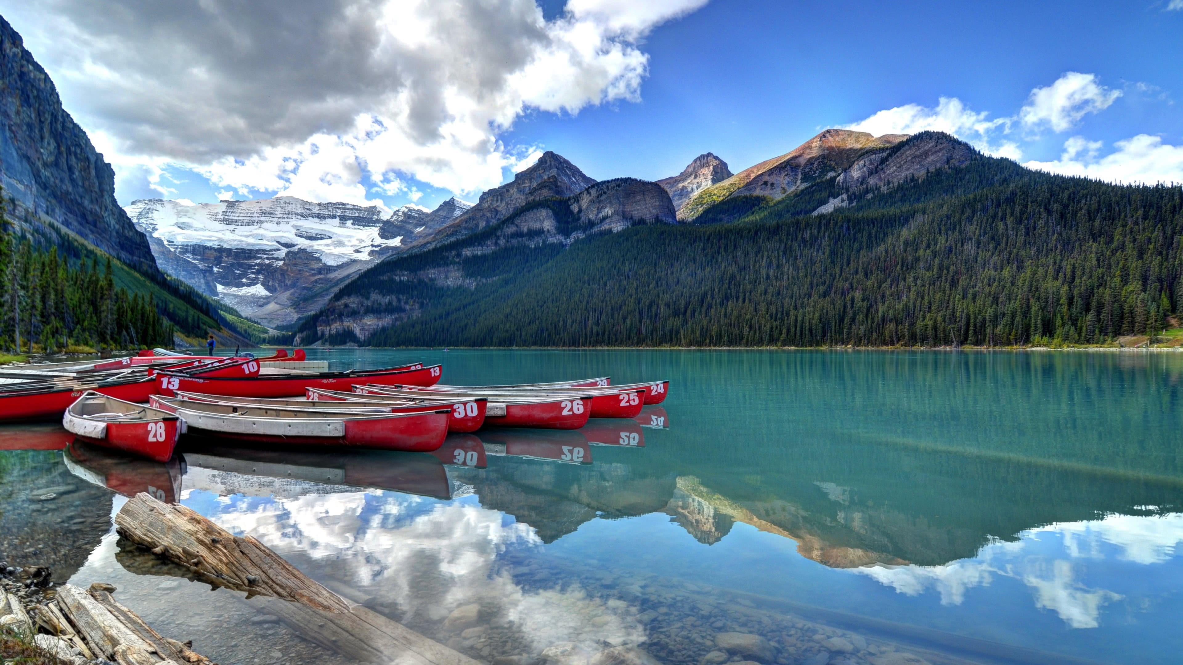 canoes lake louise banff canada uhd 4k wallpaper