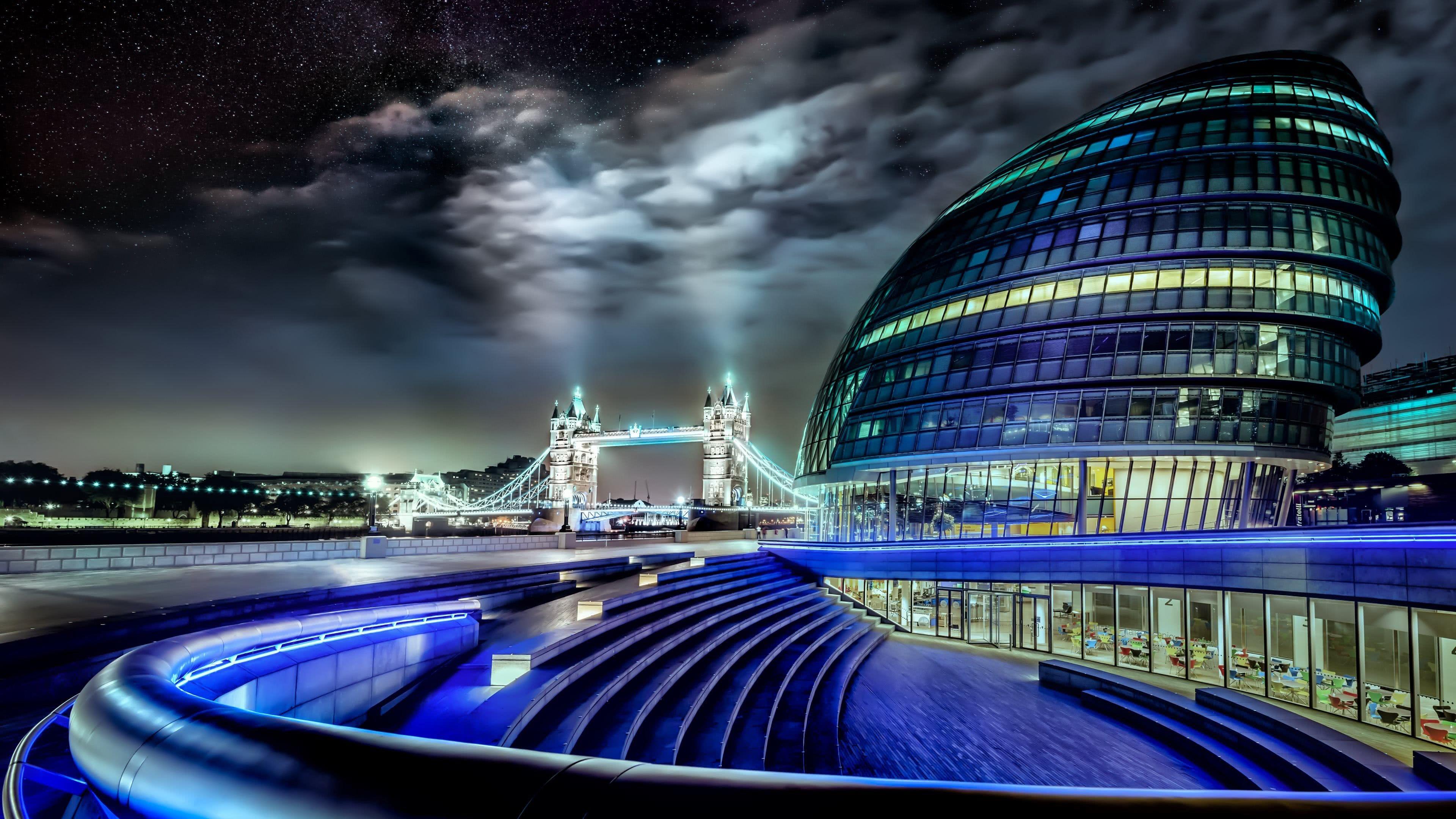 City Hall At Night London, United Kingdom UHD 4K Wallpaper ...