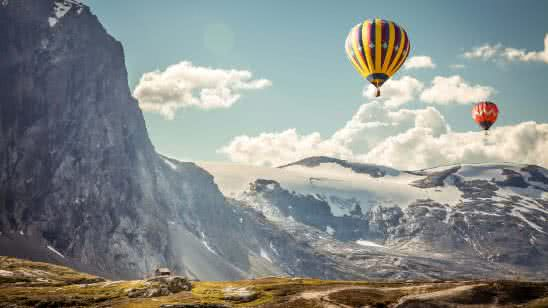 colorful hot air baloons with mountains uhd 4k wallpaper