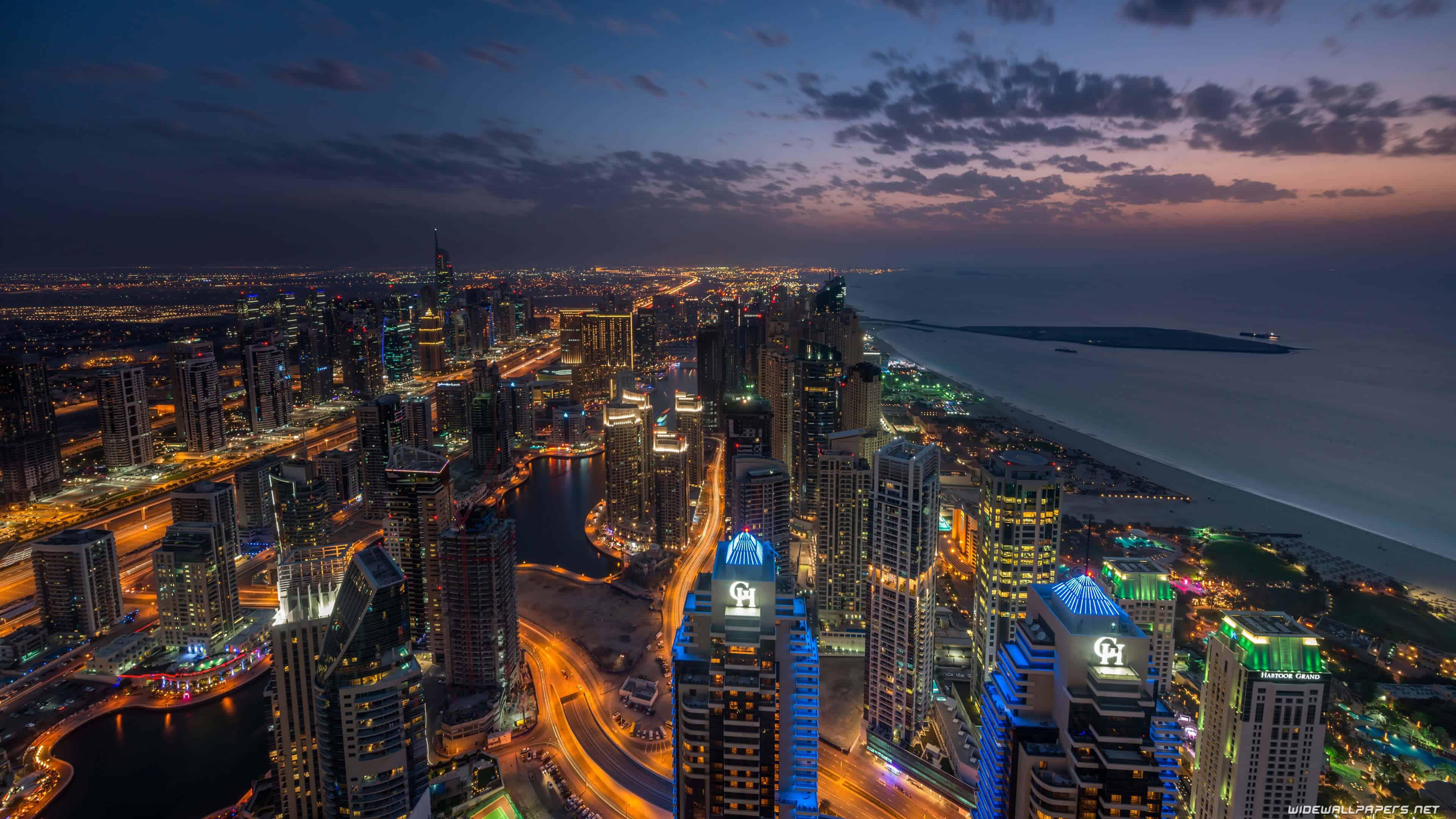 dubai marina at night, united arab emirates uhd 4k wallpaper | pixelz