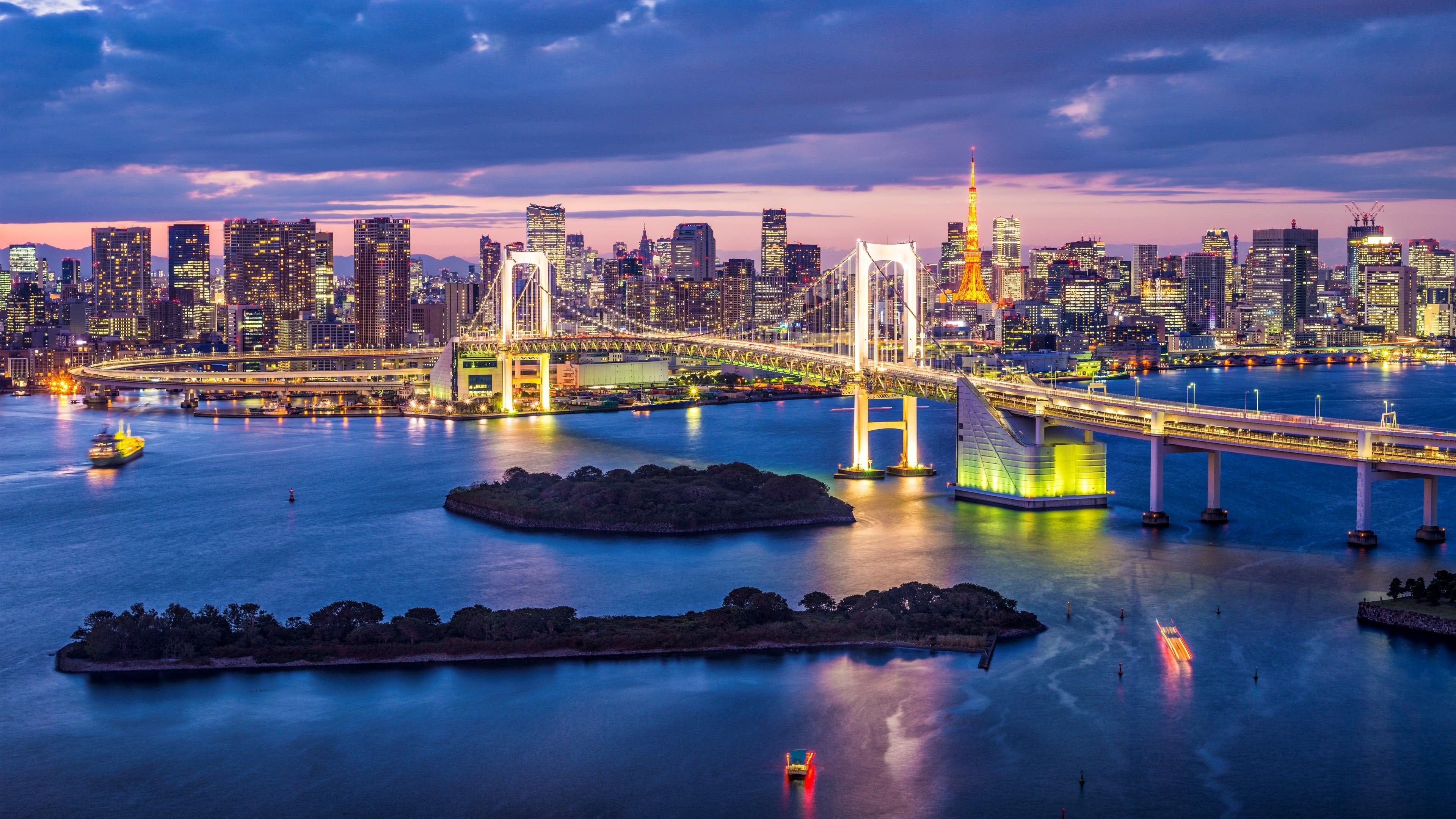 rainbow bridge tokyo japan uhd 4k wallpaper