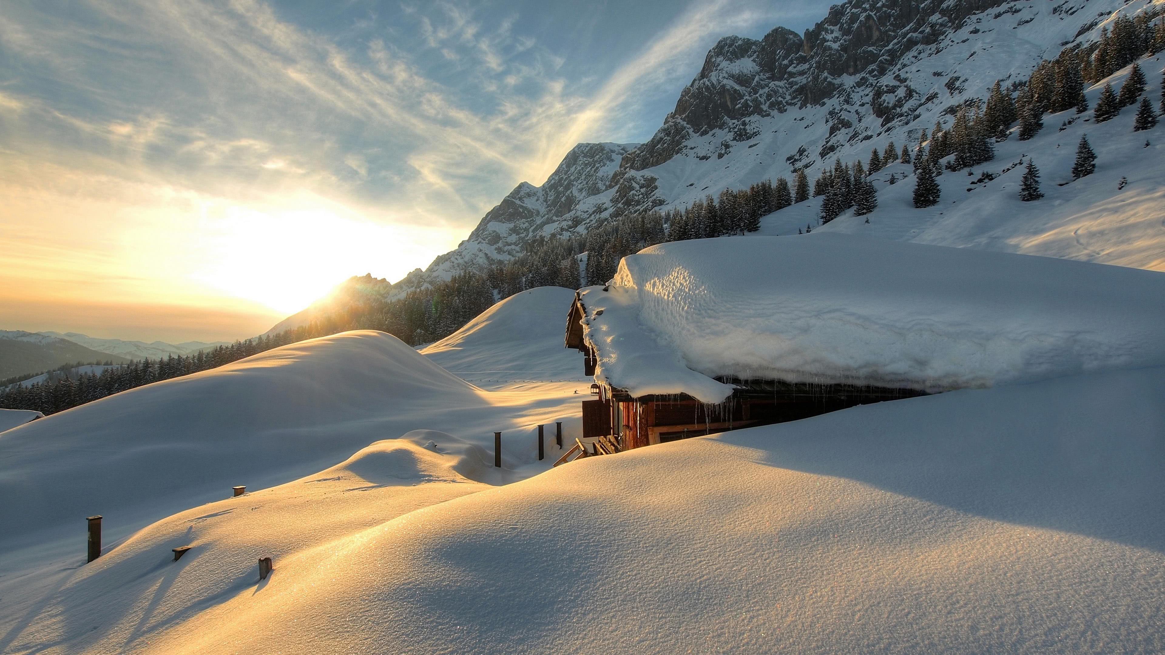 winter mountains in austria uhd 4k wallpaper