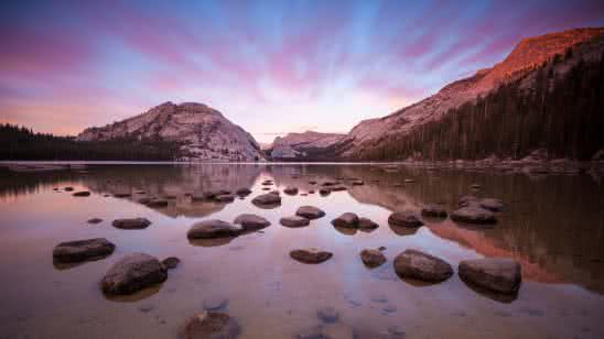 lake in a valley in yosemite national park california united states uhd 4k wallpaper