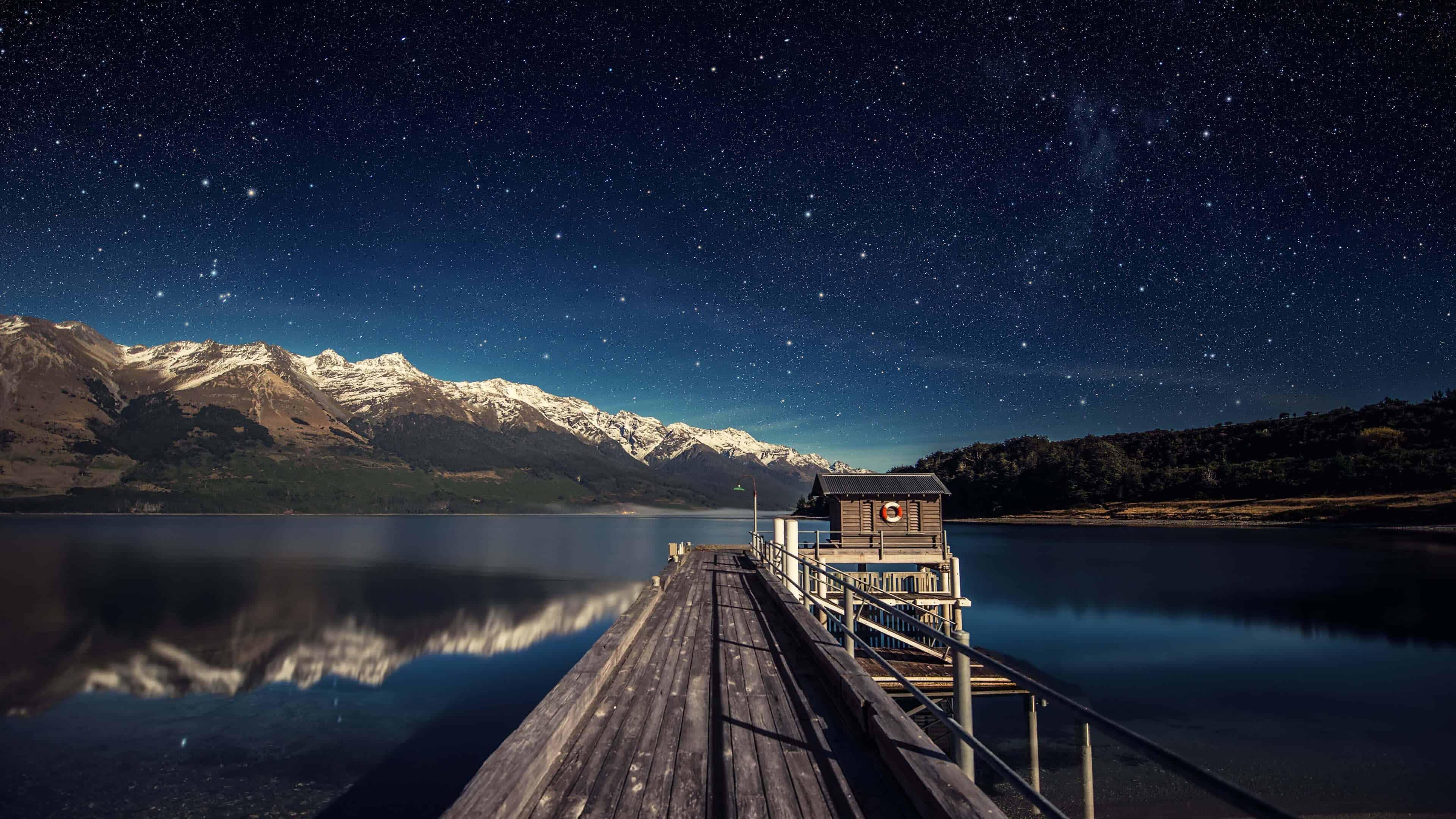 night sky lake wakatipu queenstown new zealand uhd 4k wallpaper
