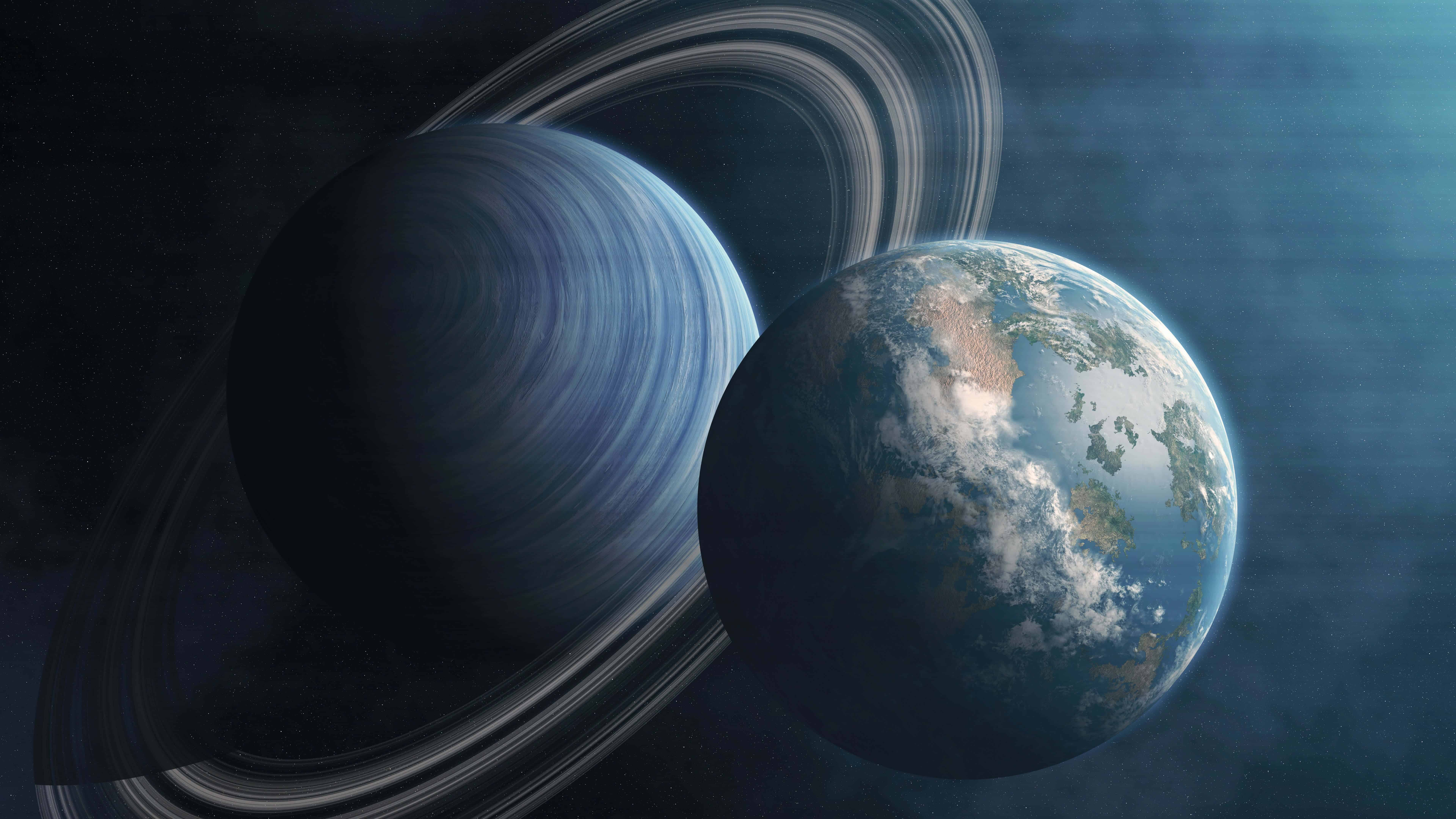 planet earth and saturn uhd 8k wallpaper