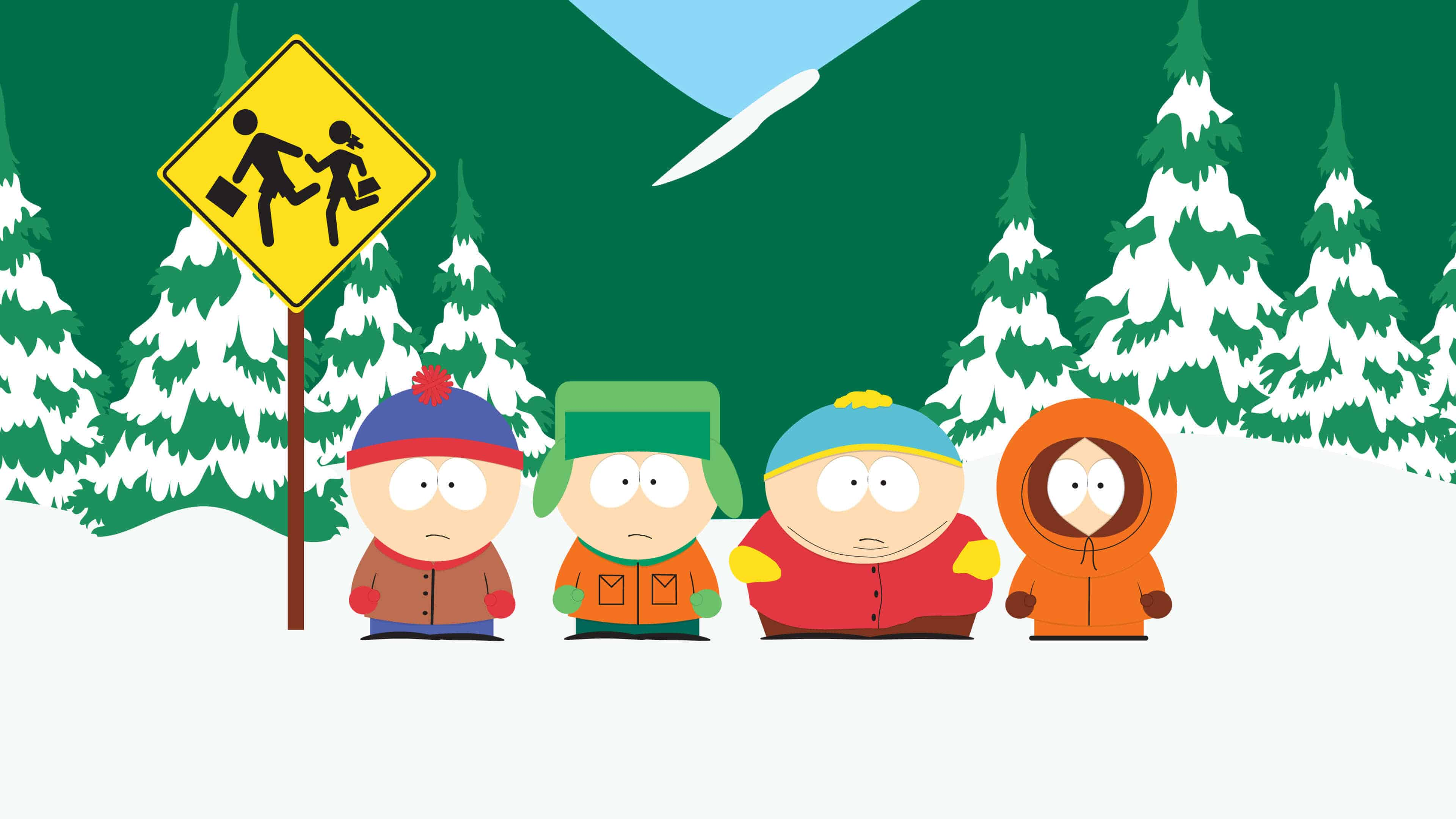 south park stan kyle cartman and kenny at bus stop uhd 4k wallpaper