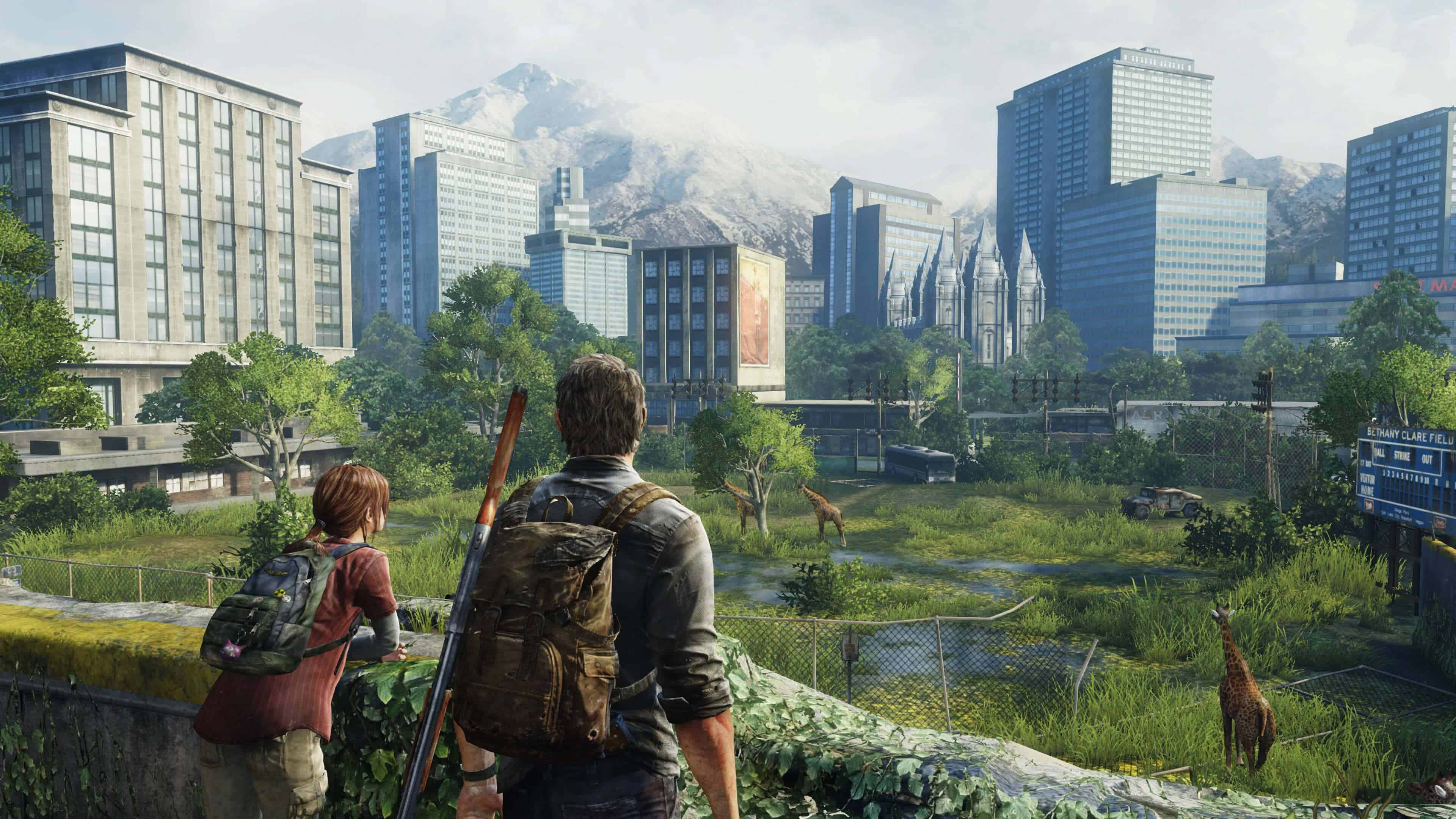 the last of us ellie and joel looking at crumbled city uhd 4k wallpaper