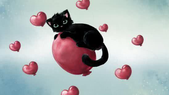 cat on heart balloon uhd 4k wallpaper