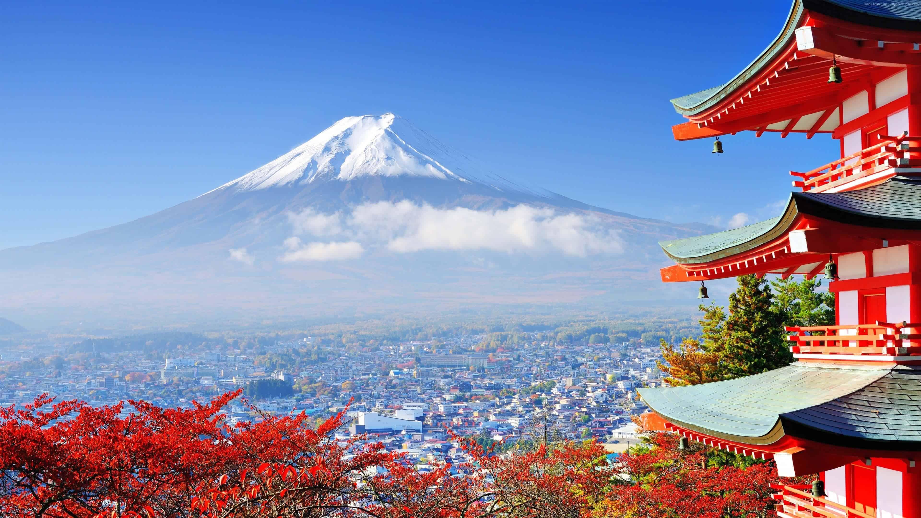 view of mout fuji from red pagoda tokyo japan uhd 4k wallpaperq