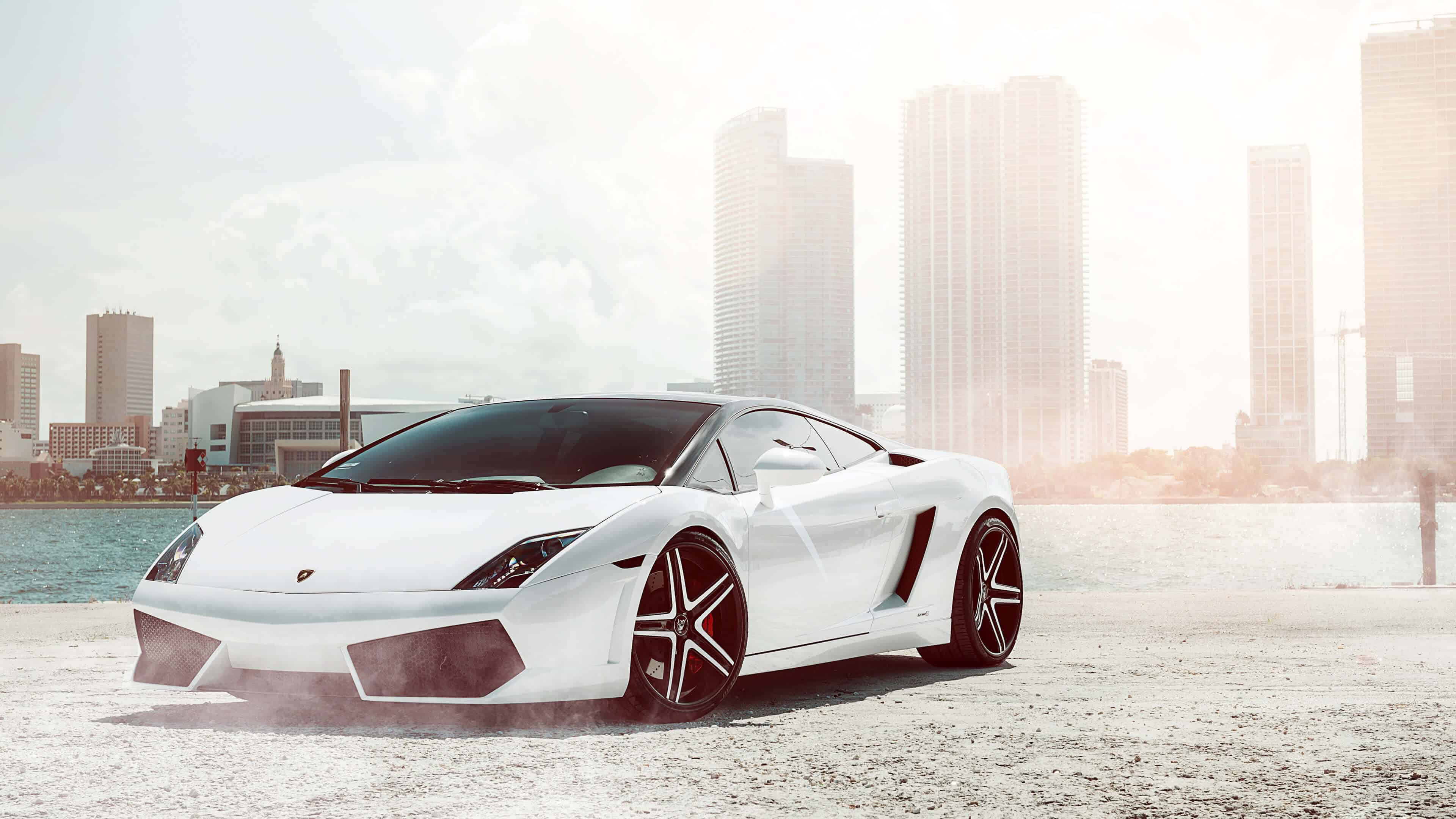 white lamborghini gallardo uhd 4k wallpaper