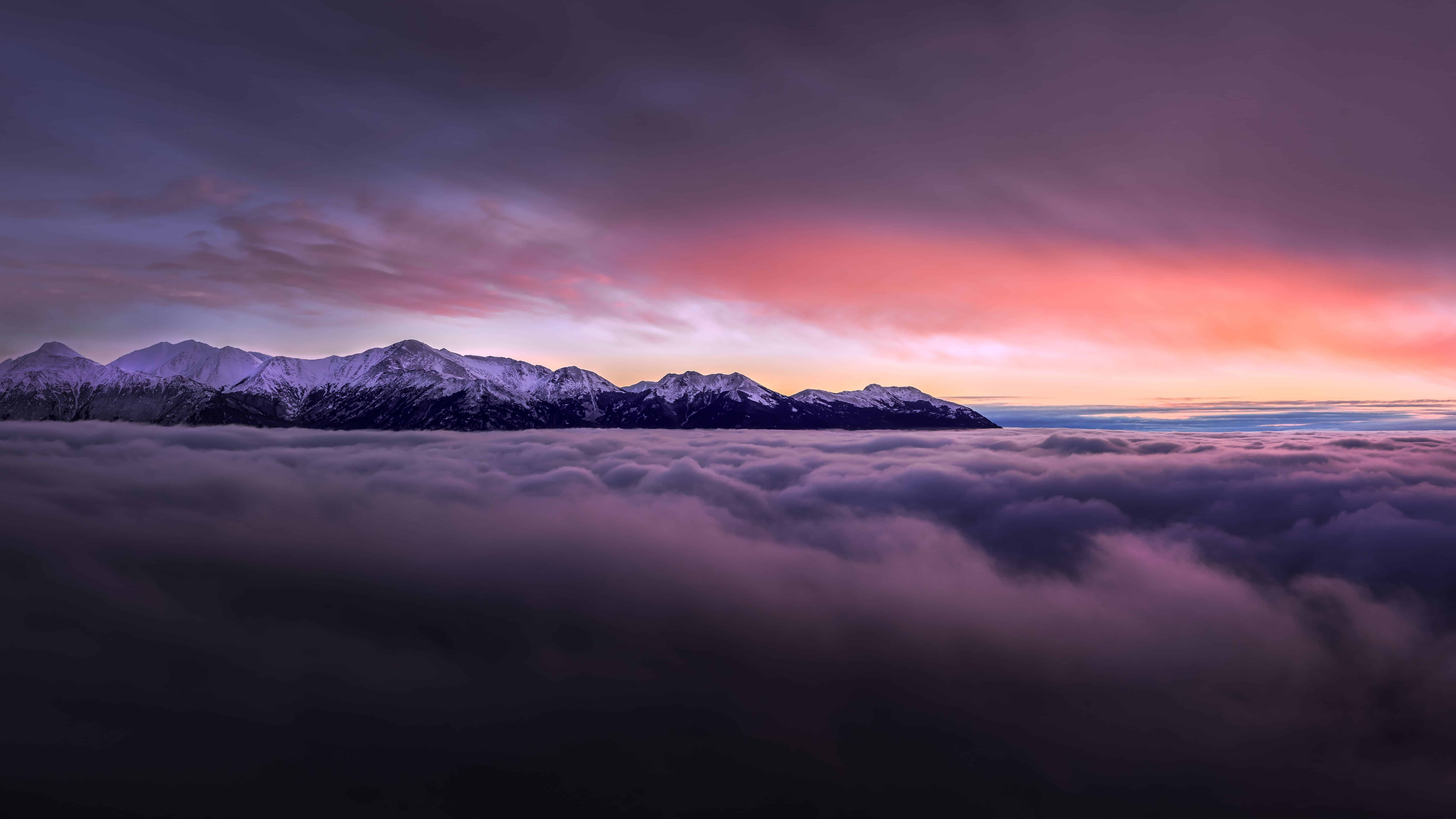 Sunset With Mountains Above Clouds Uhd 8k Wallpaper Pixelz