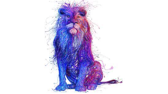 wired lion digital art uhd 8k wallpaper