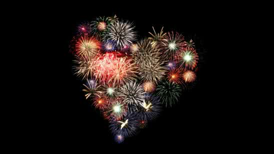 fireworks heart uhd 8k wallpaper