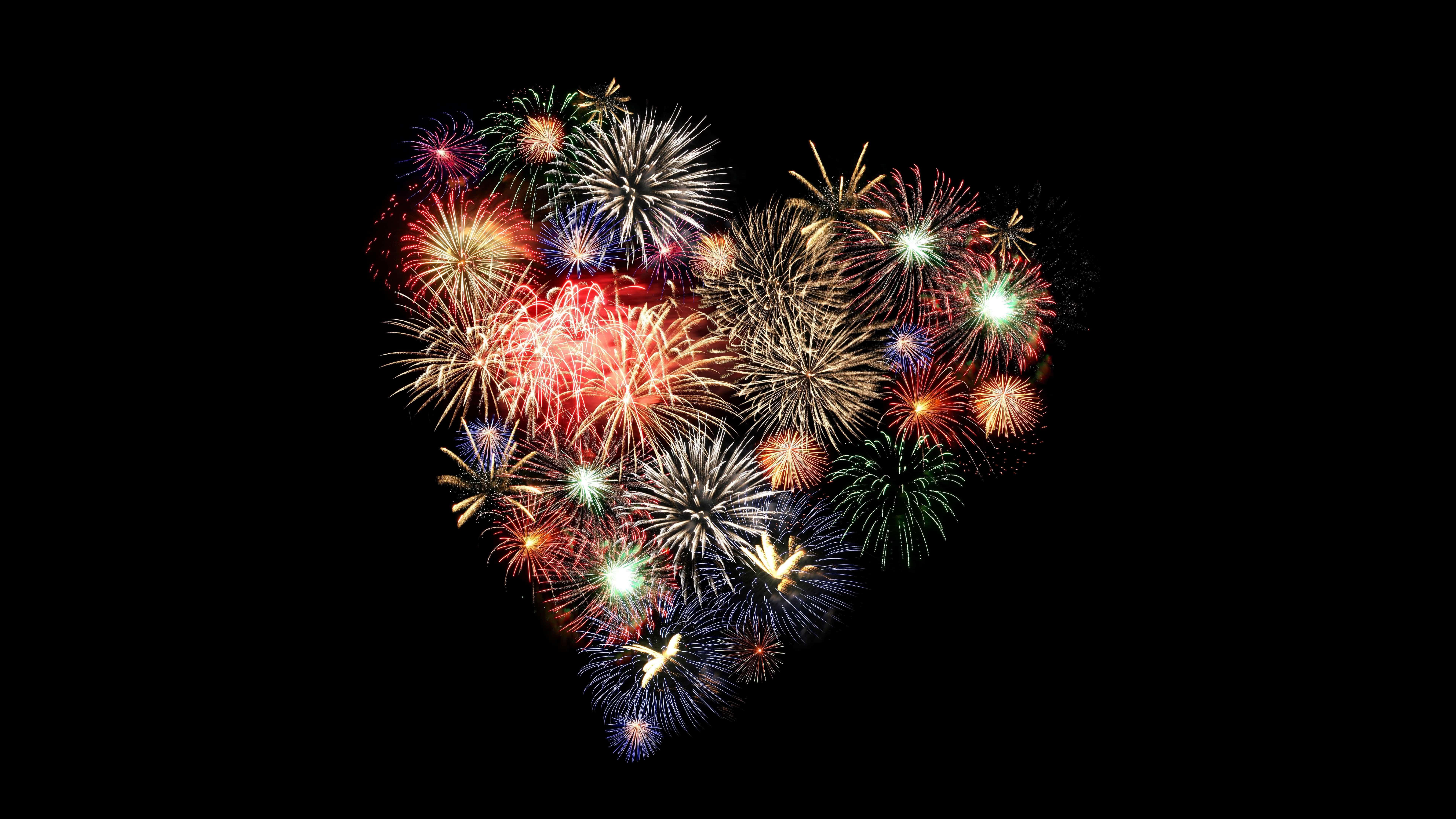 fireworks heart uhd 8k wallpaper