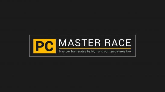 pc master race logo may our frame rates be high and tempatures low uhd 4k wallpaper
