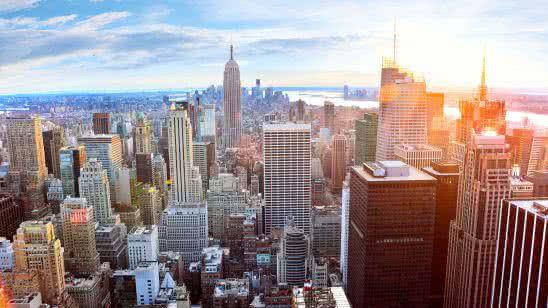new york cityscape sunrise uhd 8k wallpaper