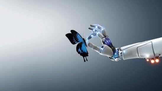 technology and nature robot with a butterfly uhd 8k wallpaper