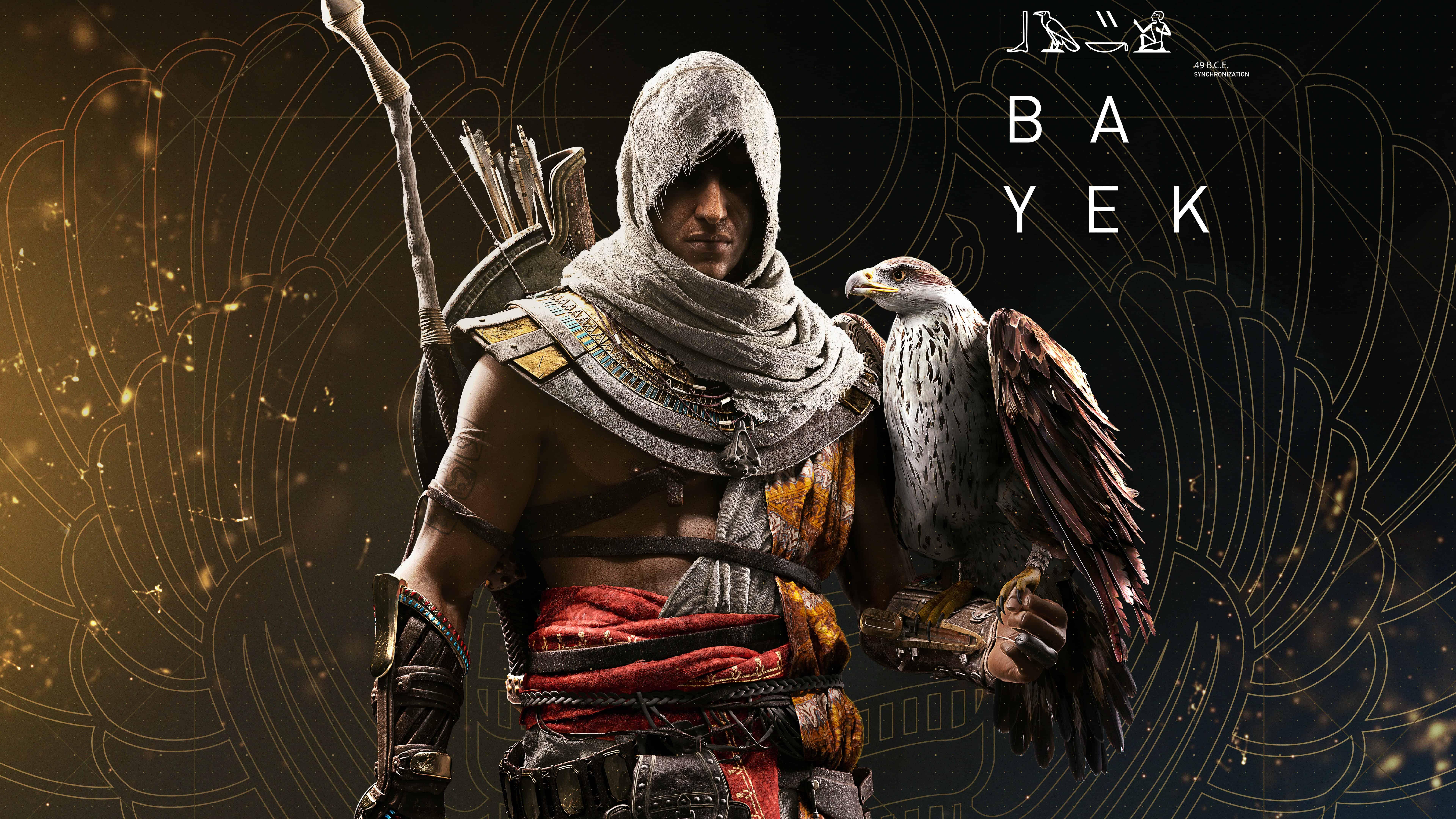 assassins creed origins bayek and eagle uhd 8k wallpaper