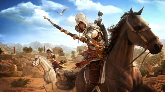 assassins creed origins bayek on horseback uhd 8k wallpaper