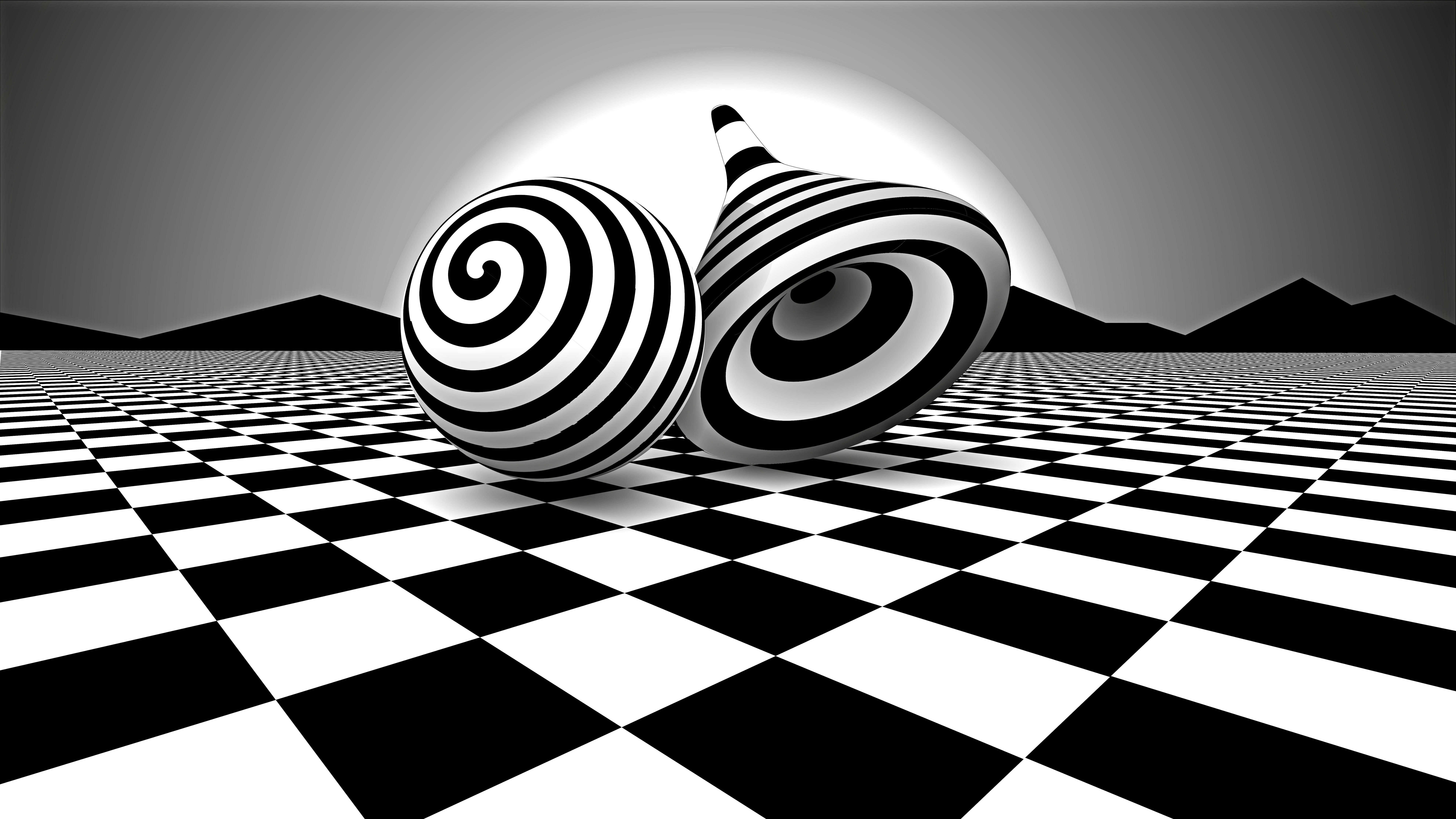 black and white optical illusion uhd 8k wallpaper