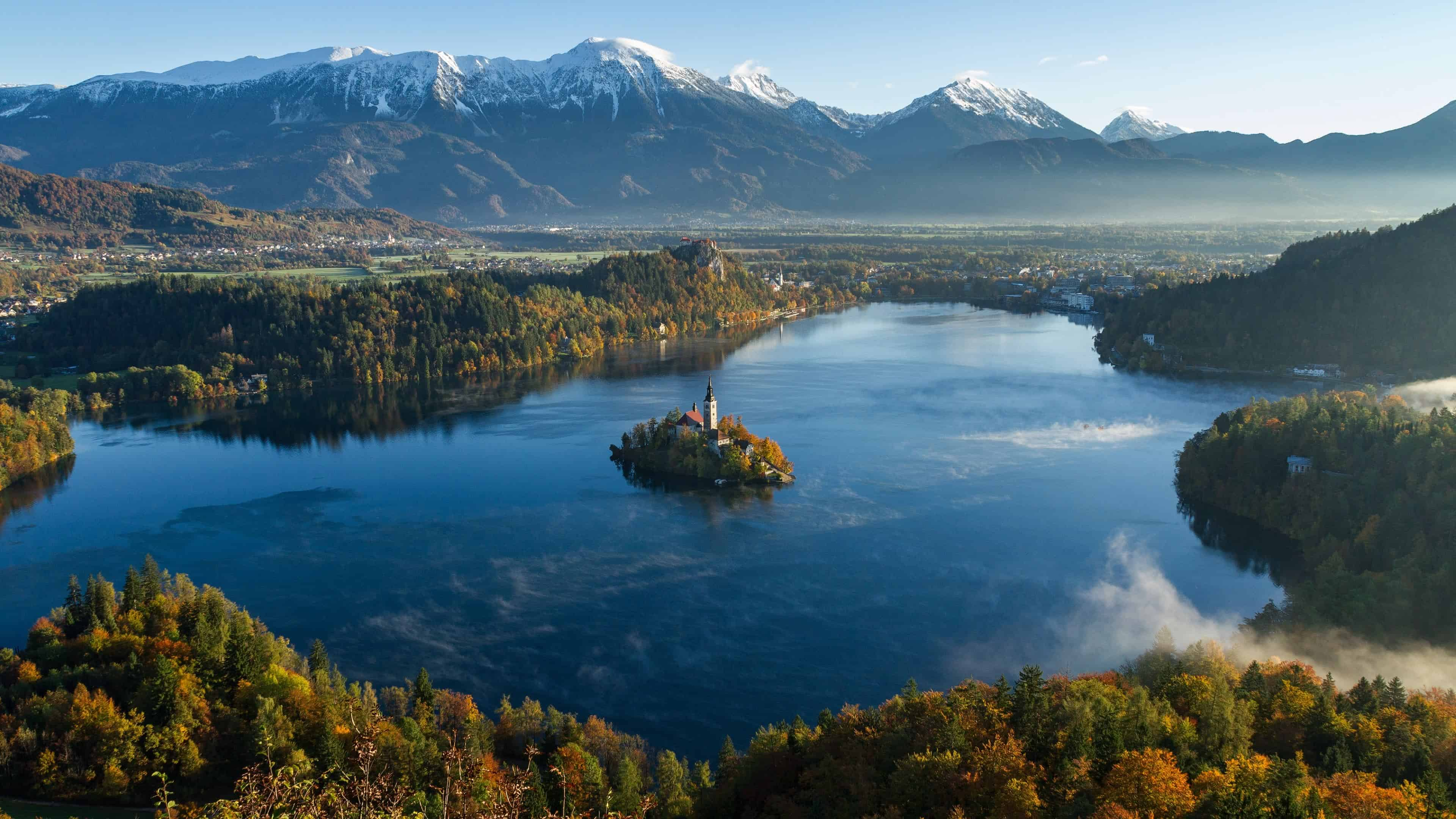 bled lake julian alps slovenia uhd 4k wallpaper