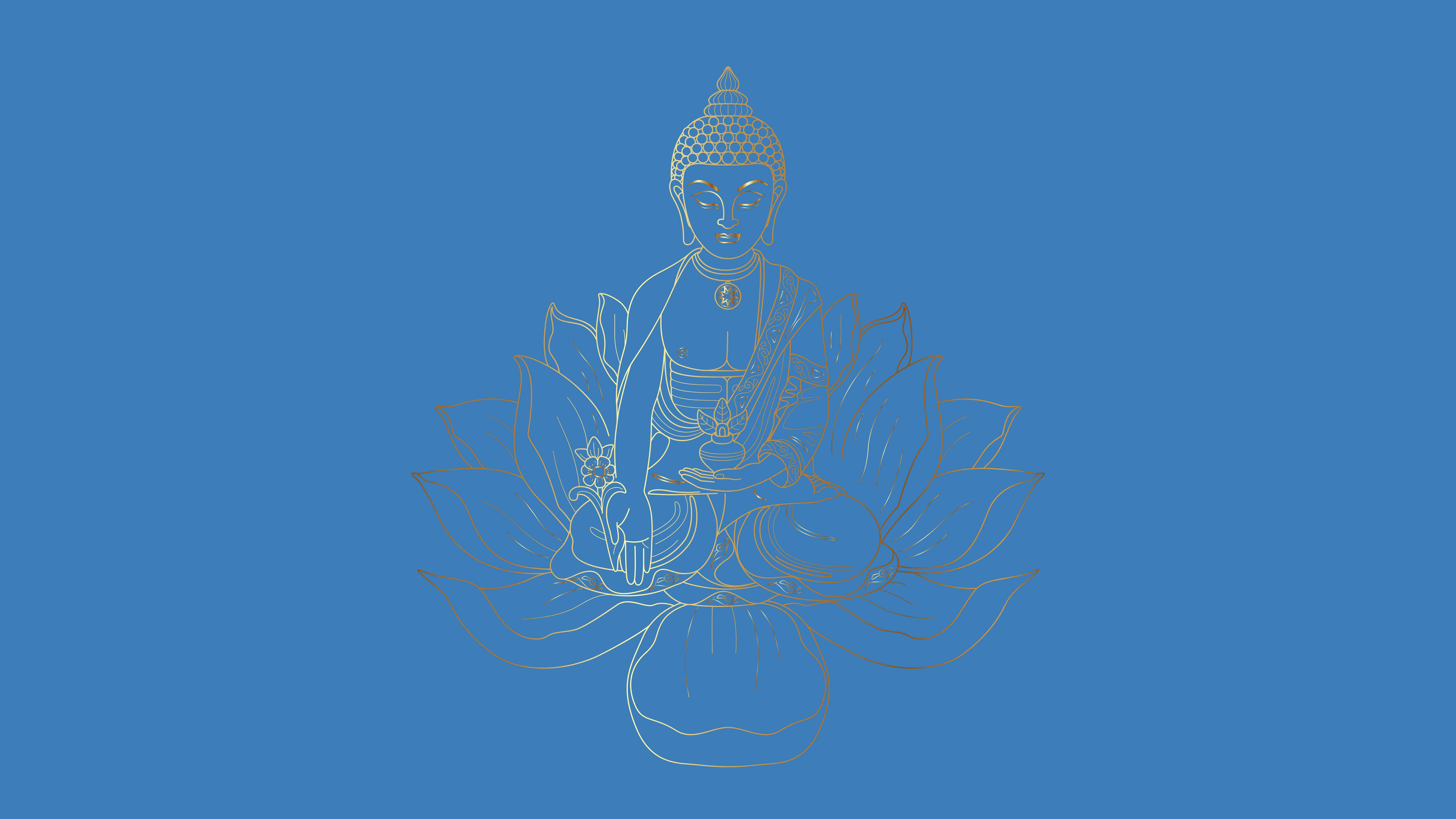 buddha sitting on a lotus uhd 8k wallpaper