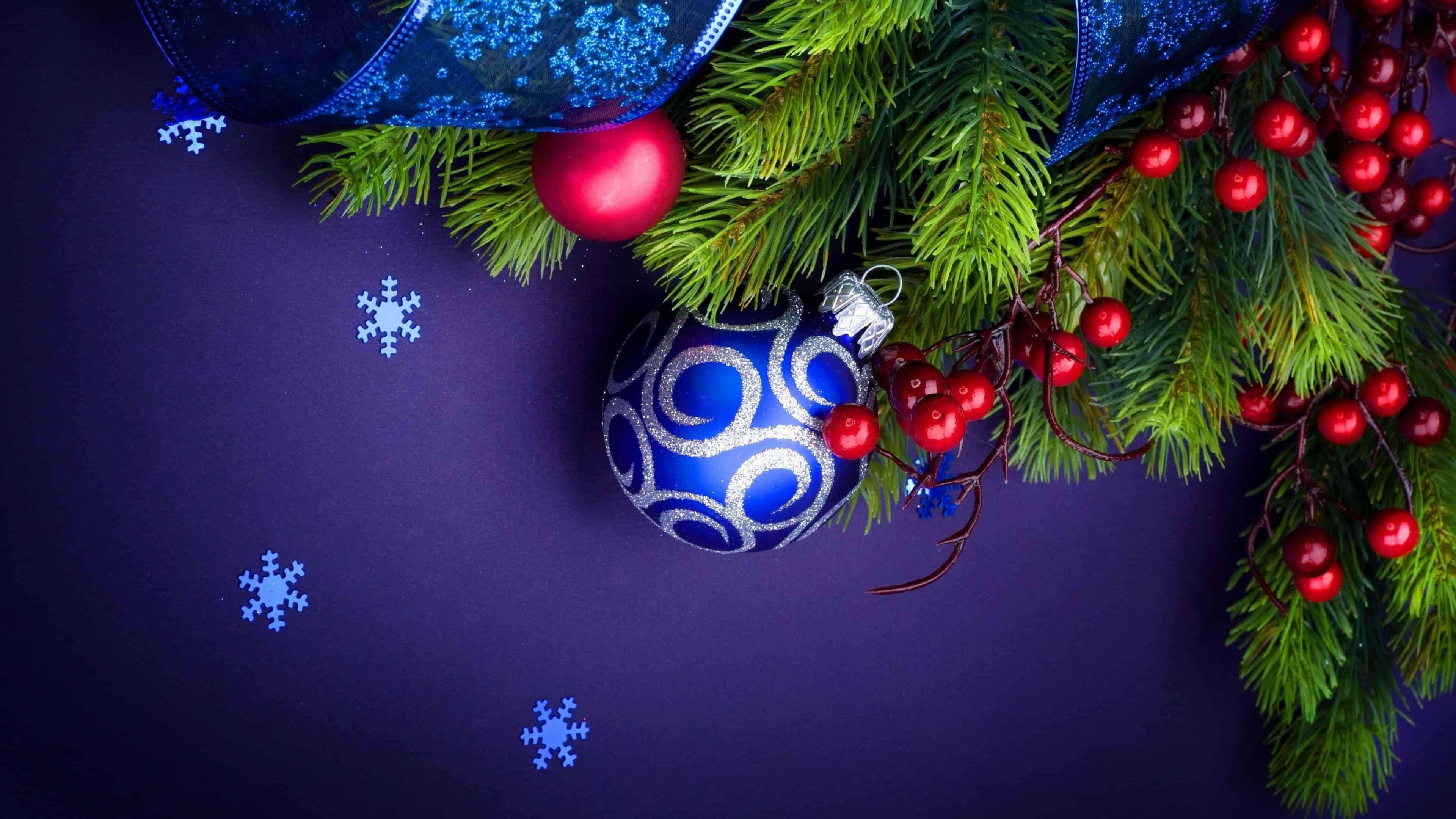 christmas decorations and snowflakes uhd 4k wallpaper