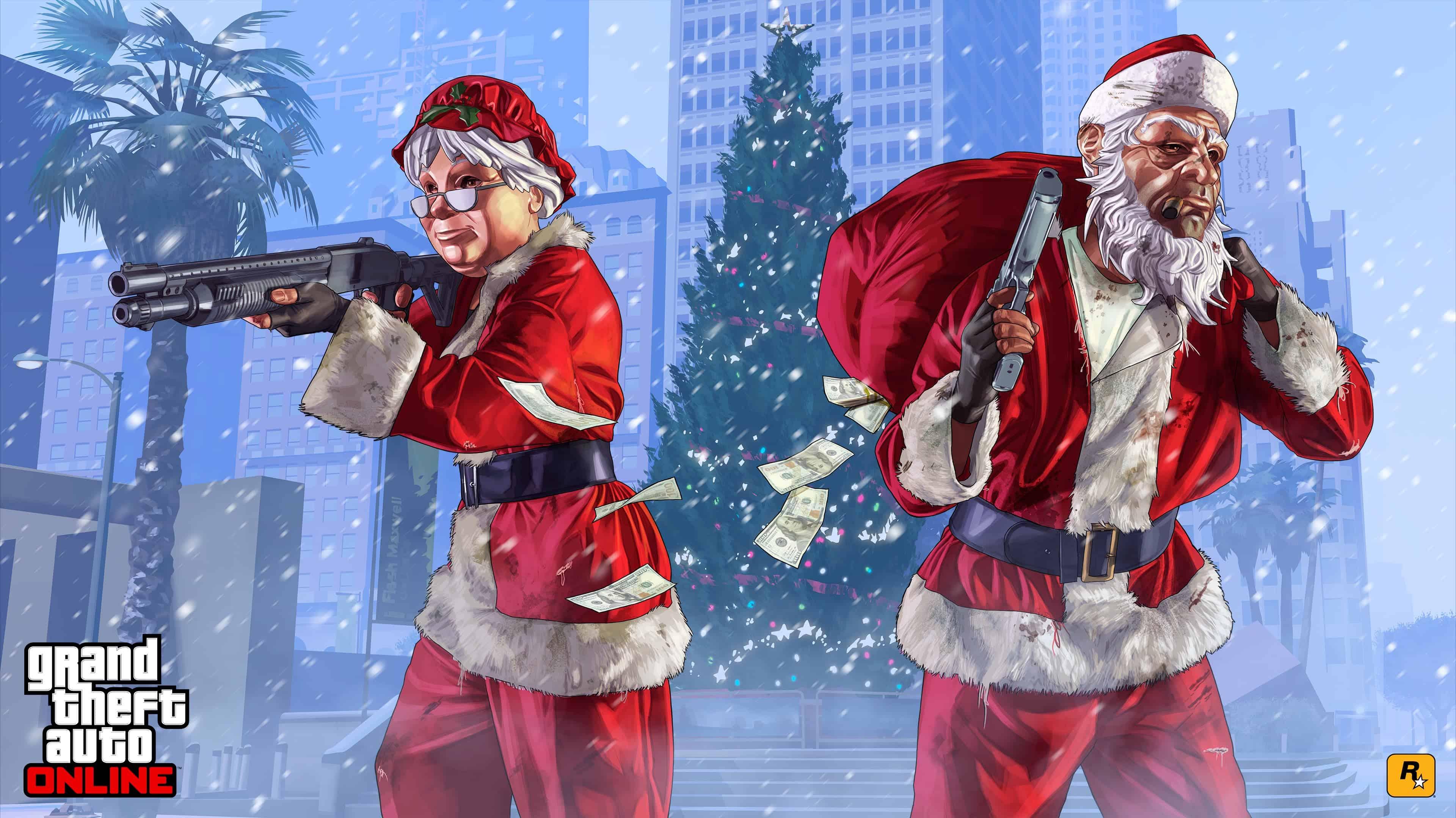 grand theft auto 5 online santa artwork for christmas uhd 4k wallpaper
