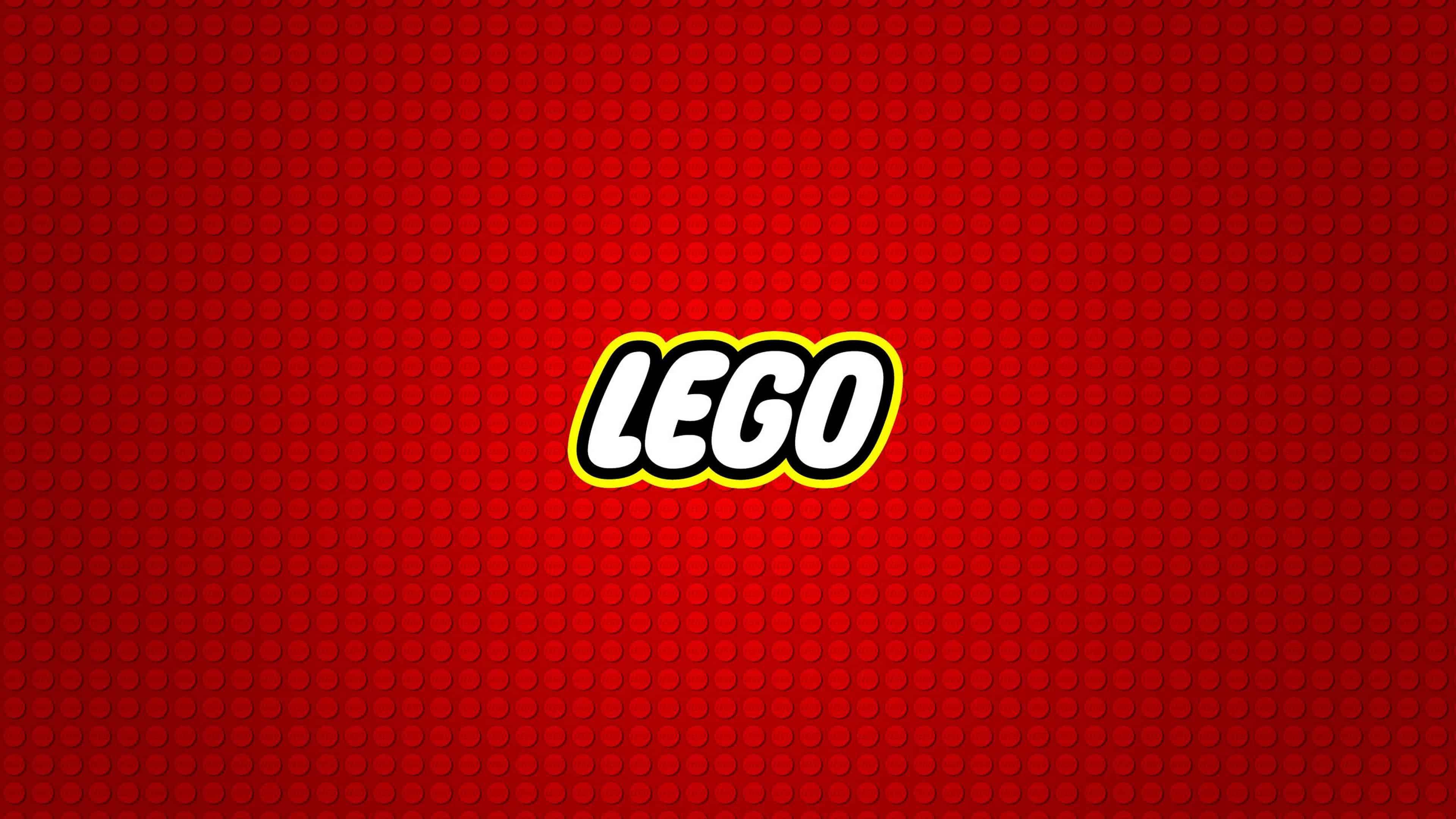 lego logo red background uhd 4k wallpaper