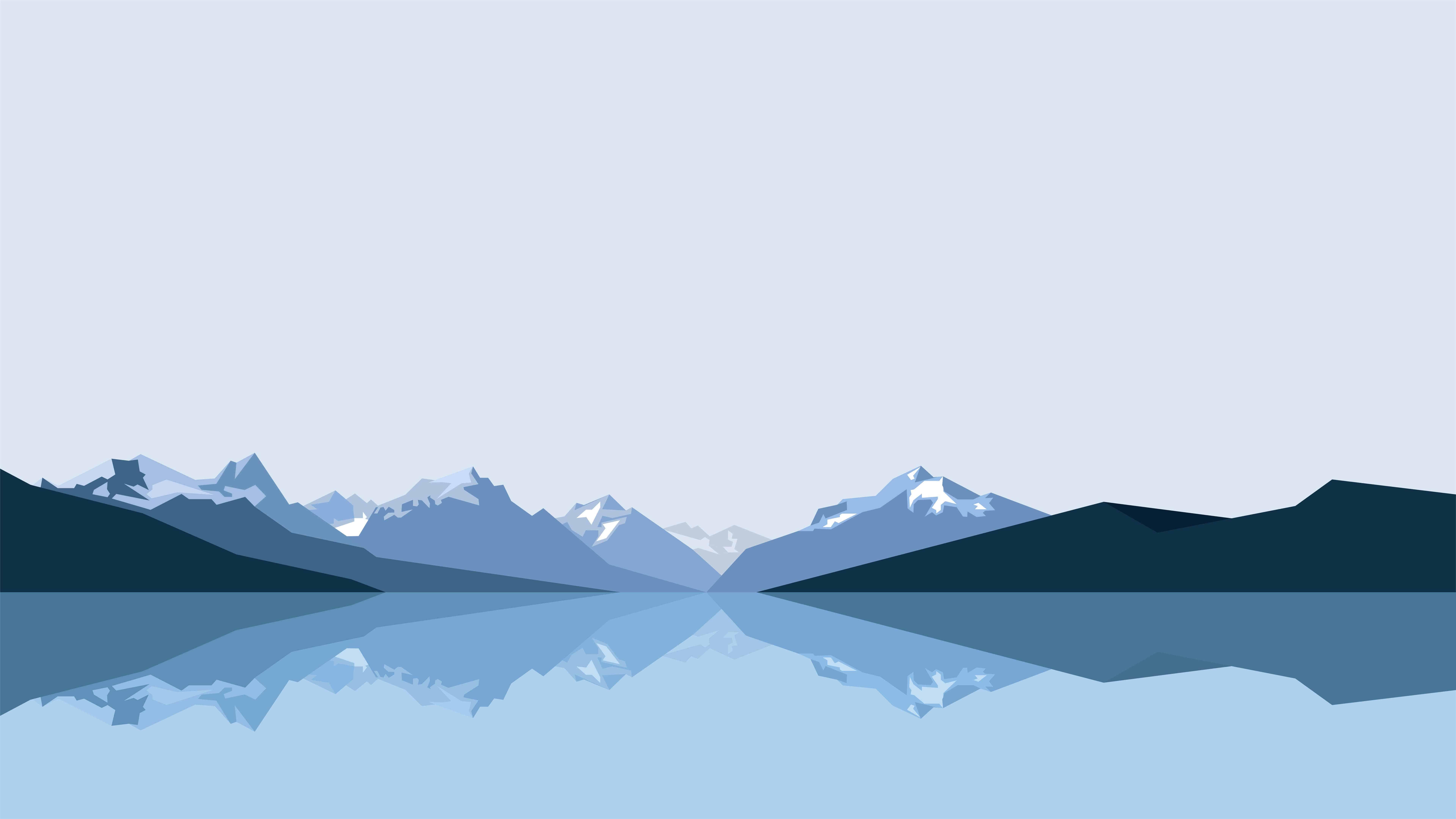 minimalist mountains and lake uhd 8k wallpaper