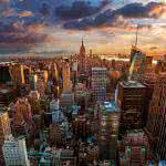 new york cityscape sunset uhd 4k wallpaper