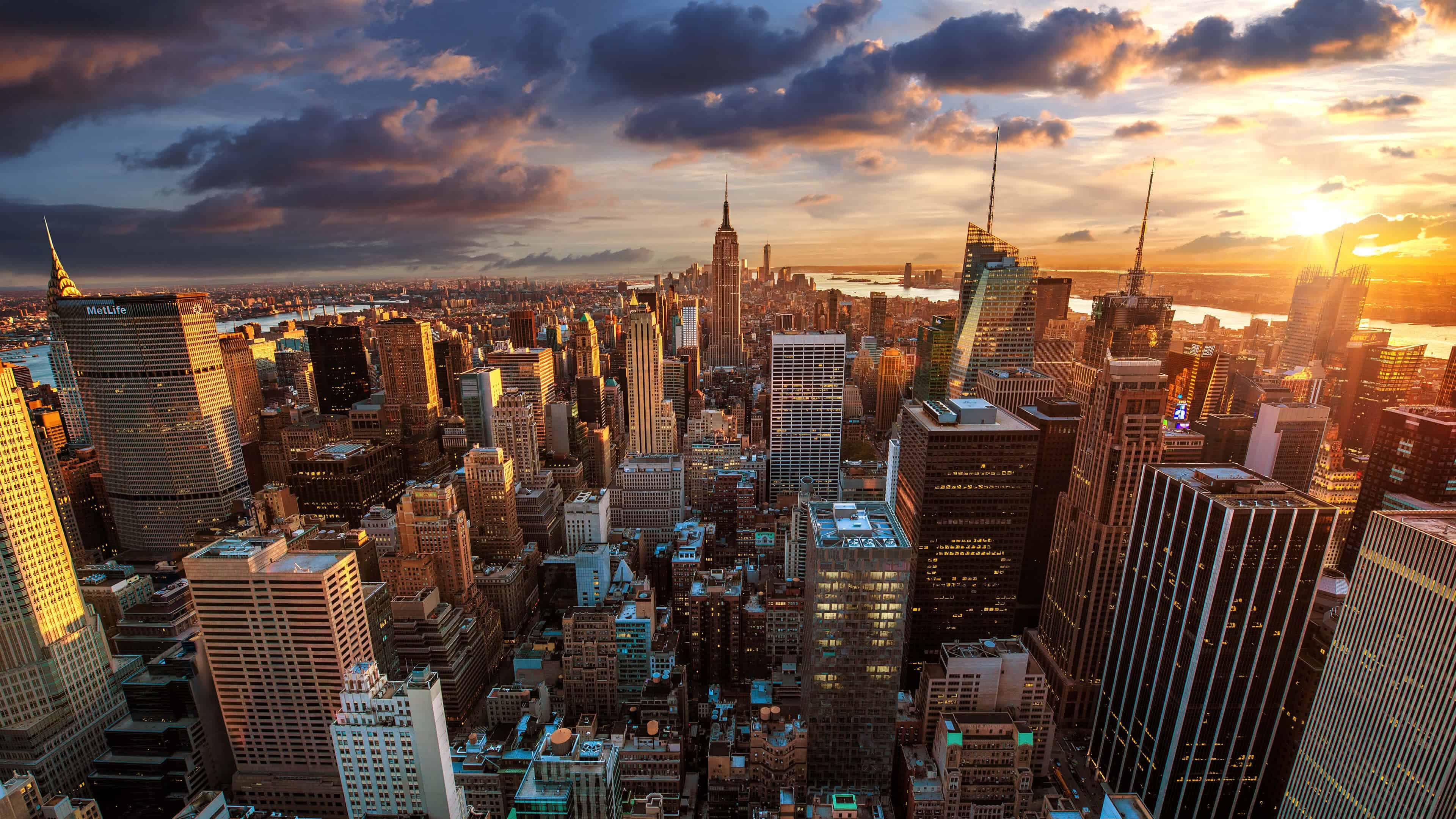 new york cityscape sunset uhd 4k wallpaper