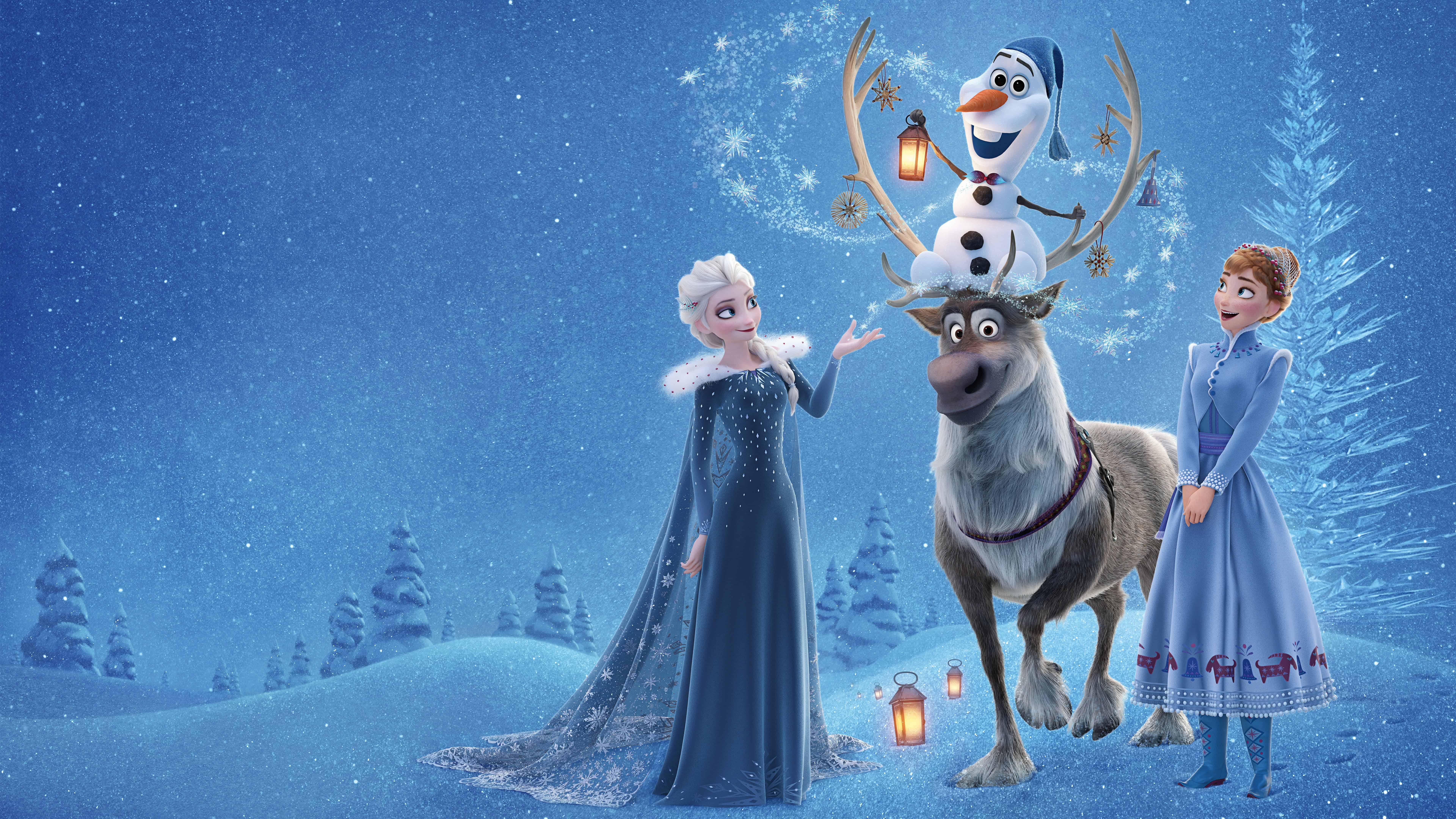 olafs frozen adventure uhd 8k wallpaper