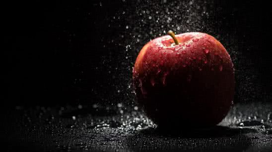 red apple water drops uhd 4k wallpaper