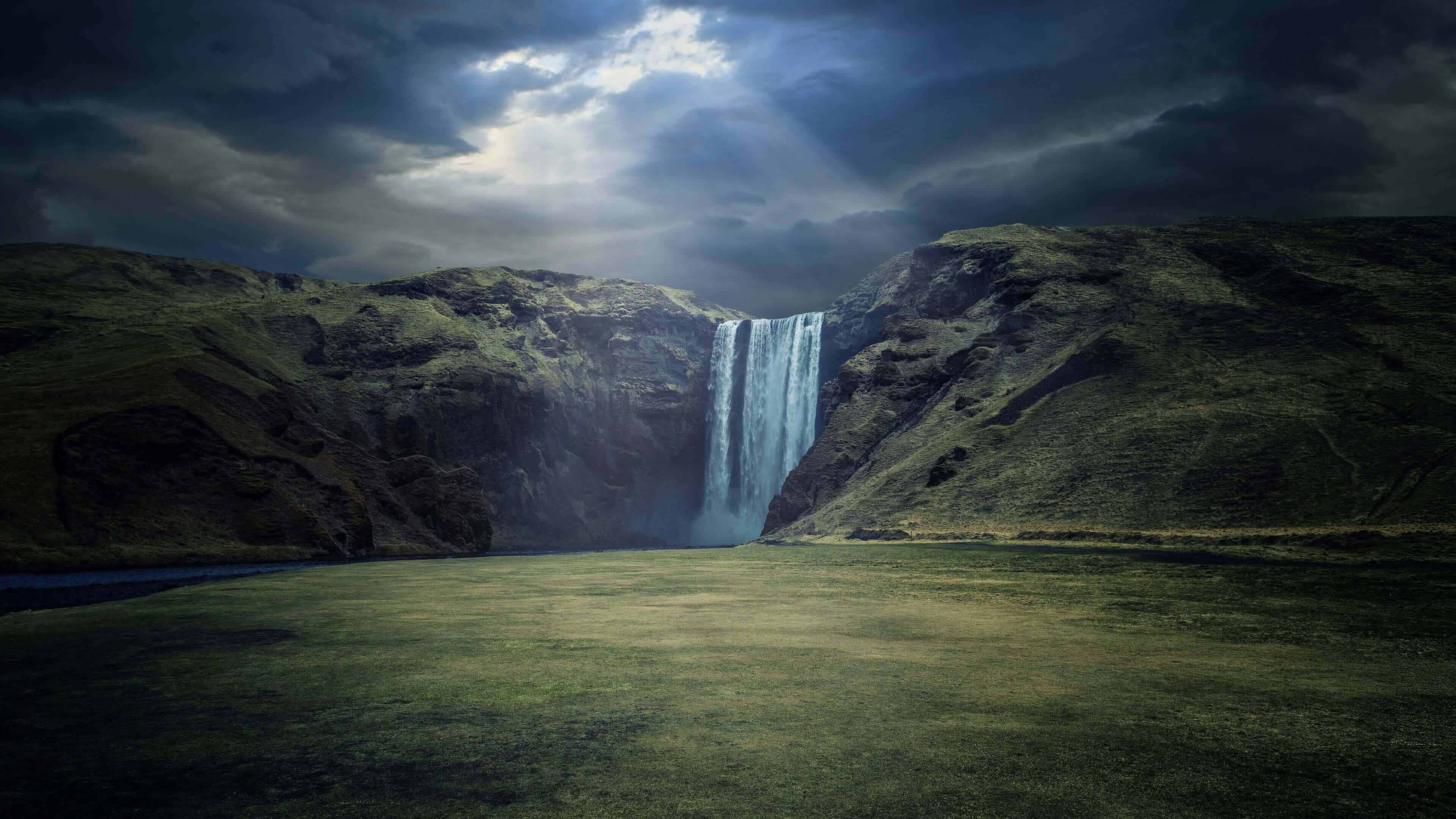 skogafoss waterfall iceland uhd 4k wallpaper
