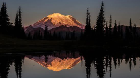 sunset at tipsoo lake mount rainier national park washington united states uhd 8k wallpaper