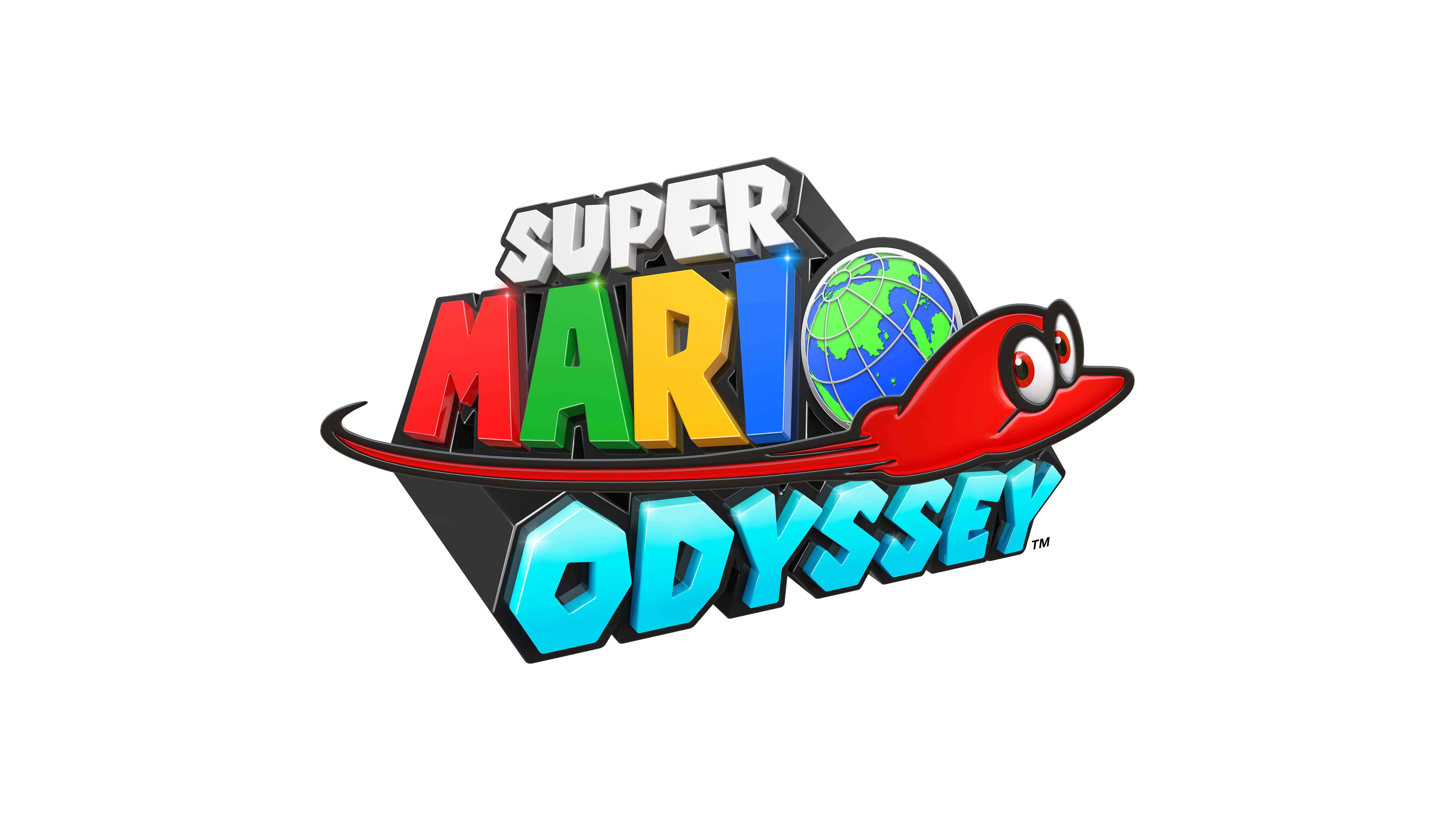 super mario odyssey logo uhd 8k wallpaper