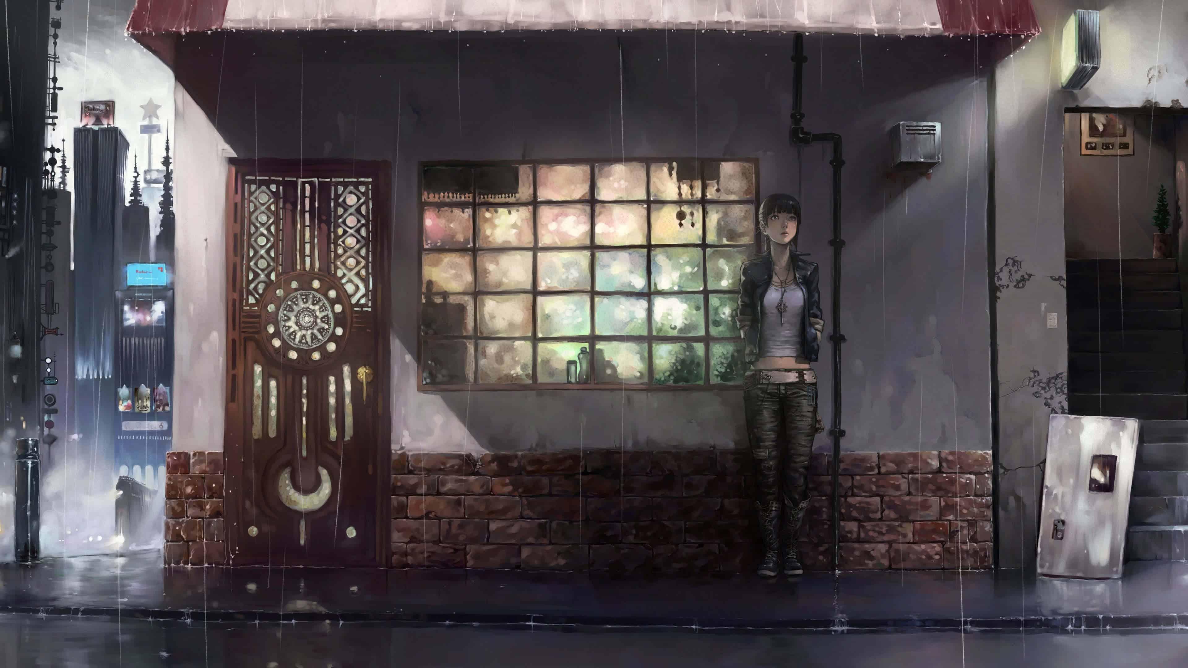 tokyo ghoul outside coffee shop uhd 4k wallpaper