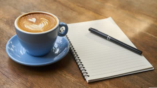 latte and notepad uhd 8k wallpaper