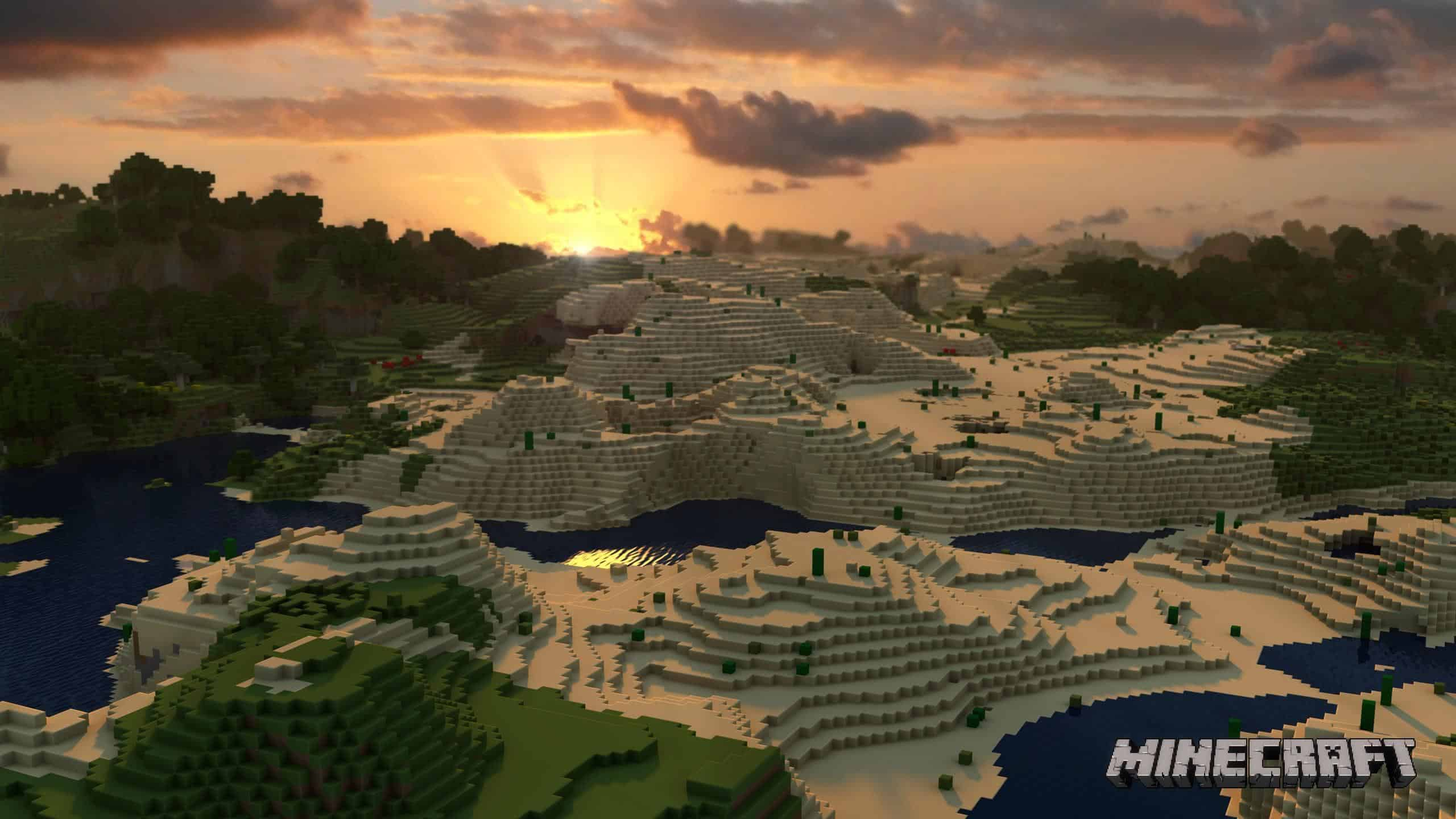 minecraft landscape wqhd 1440p wallpaper