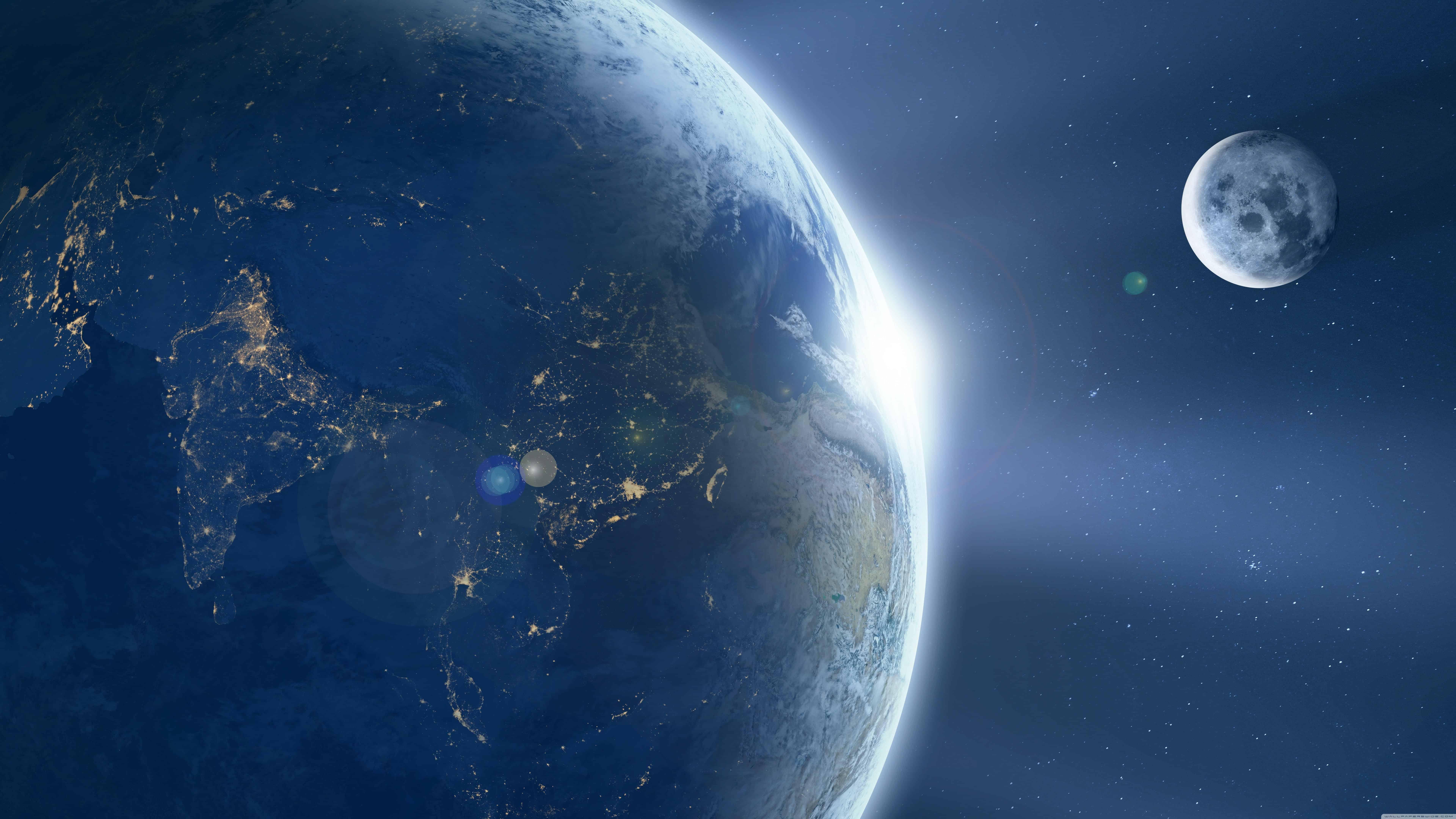 moon orbiting earth uhd 8k wallpaper