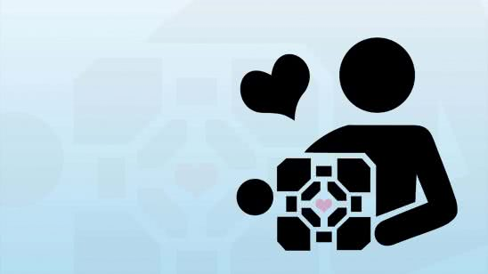 portal companion cube wqhd 1440p wallpaper